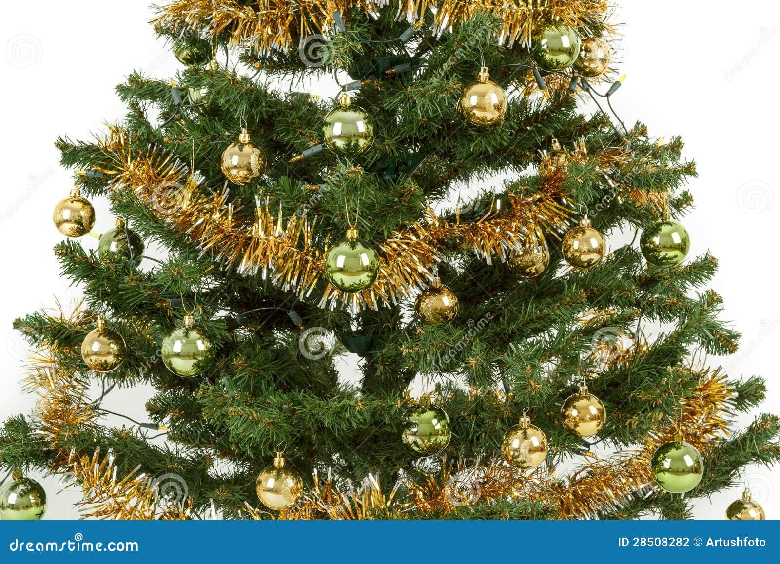Albero di natale decorato con le palle gialle e verdi - Decorazioni gialle ...