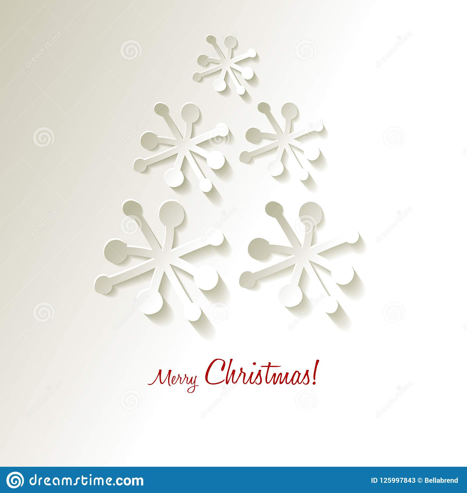 Albero di Natale dei fiocchi di neve della carta di vettore della cartolina di Natale su un fondo grigio bianco