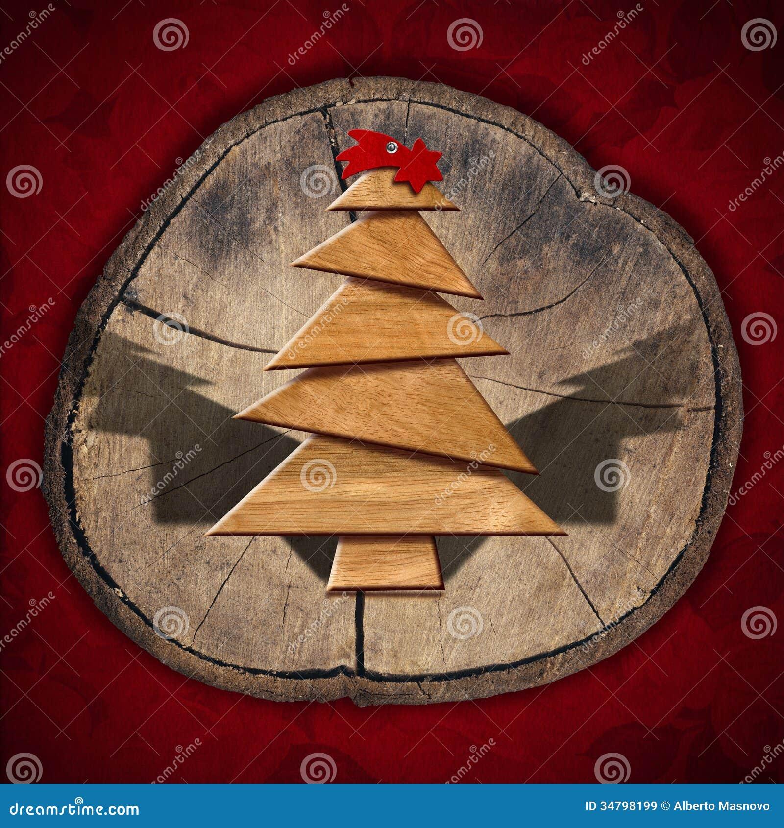 Albero di natale di legno e stilizzato illustrazione di for Albero di natale di legno