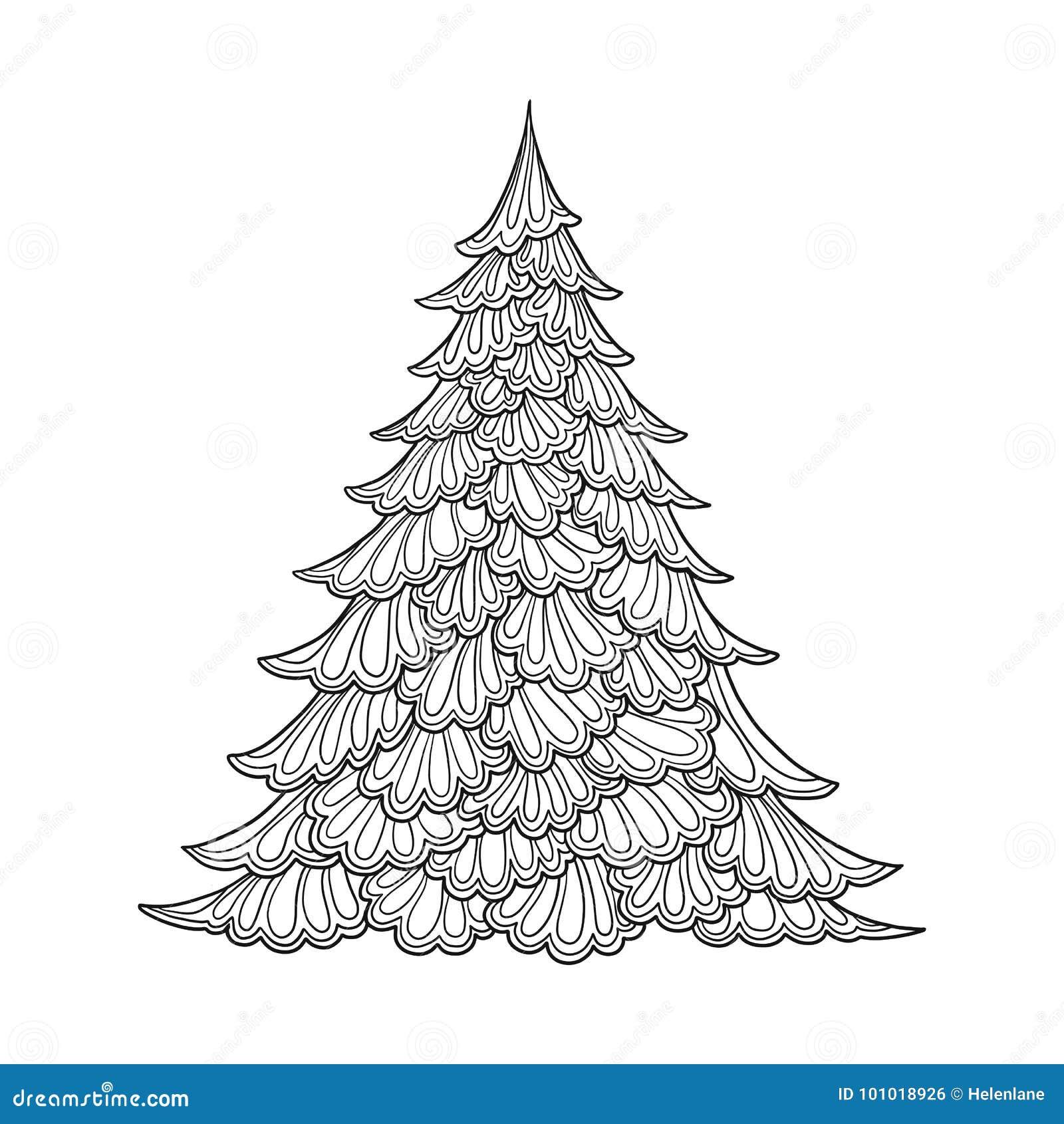 Albero Di Natale Disegno Di Contorno Buon Per La Coloritura Della