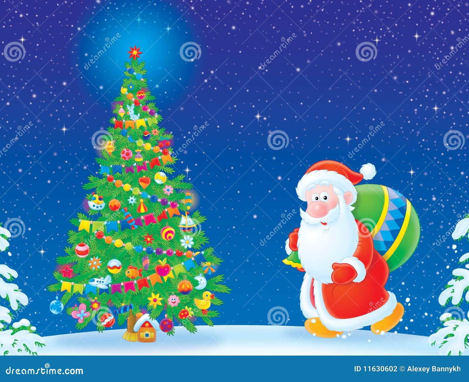 Albero Di Natale E Babbo Natale.Albero Di Natale E Del Babbo Natale Illustrazione Di Stock Illustrazione Di Venire Padre 11630602