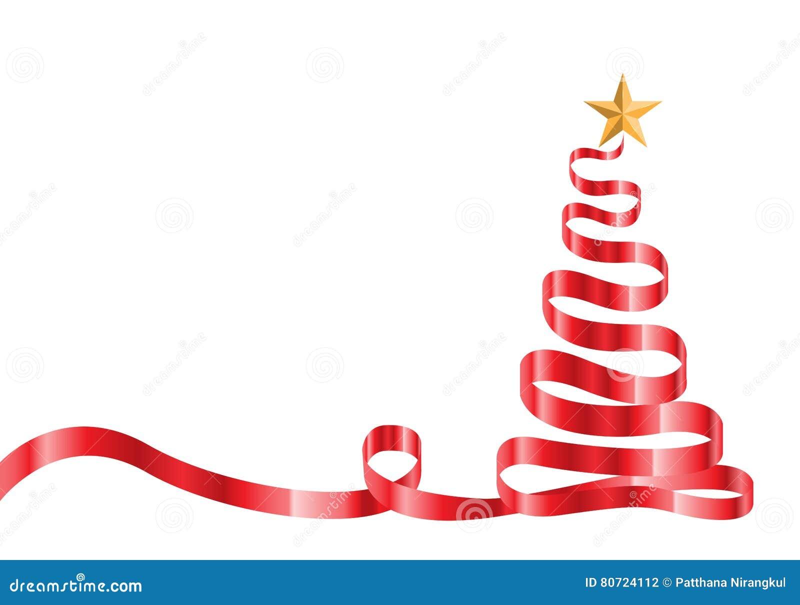 Albero Di Natale E Stella Rossi Del Nastro Sul Vettore