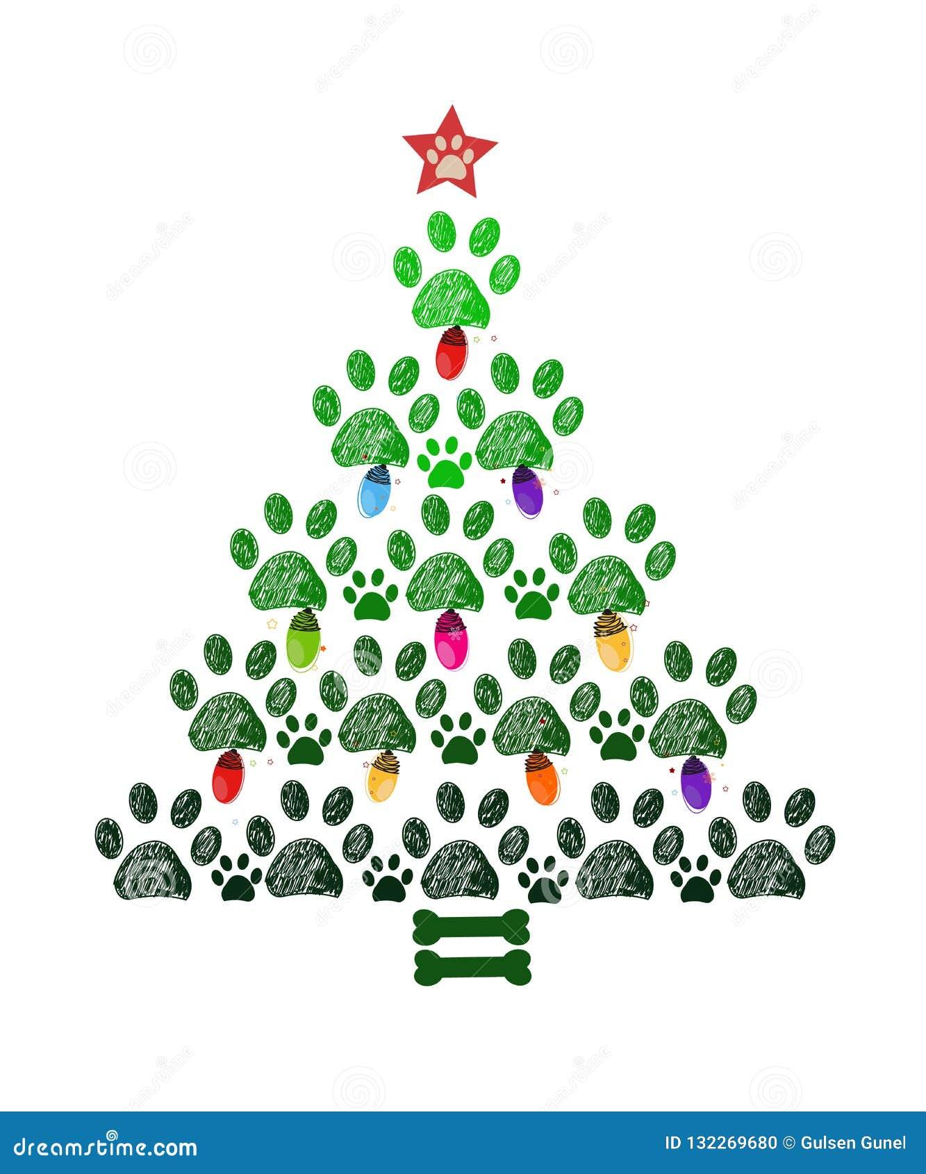 Babbo Natale Zampa.Albero Di Natale Fatto Delle Stampe Della Zampa E Dell Osso