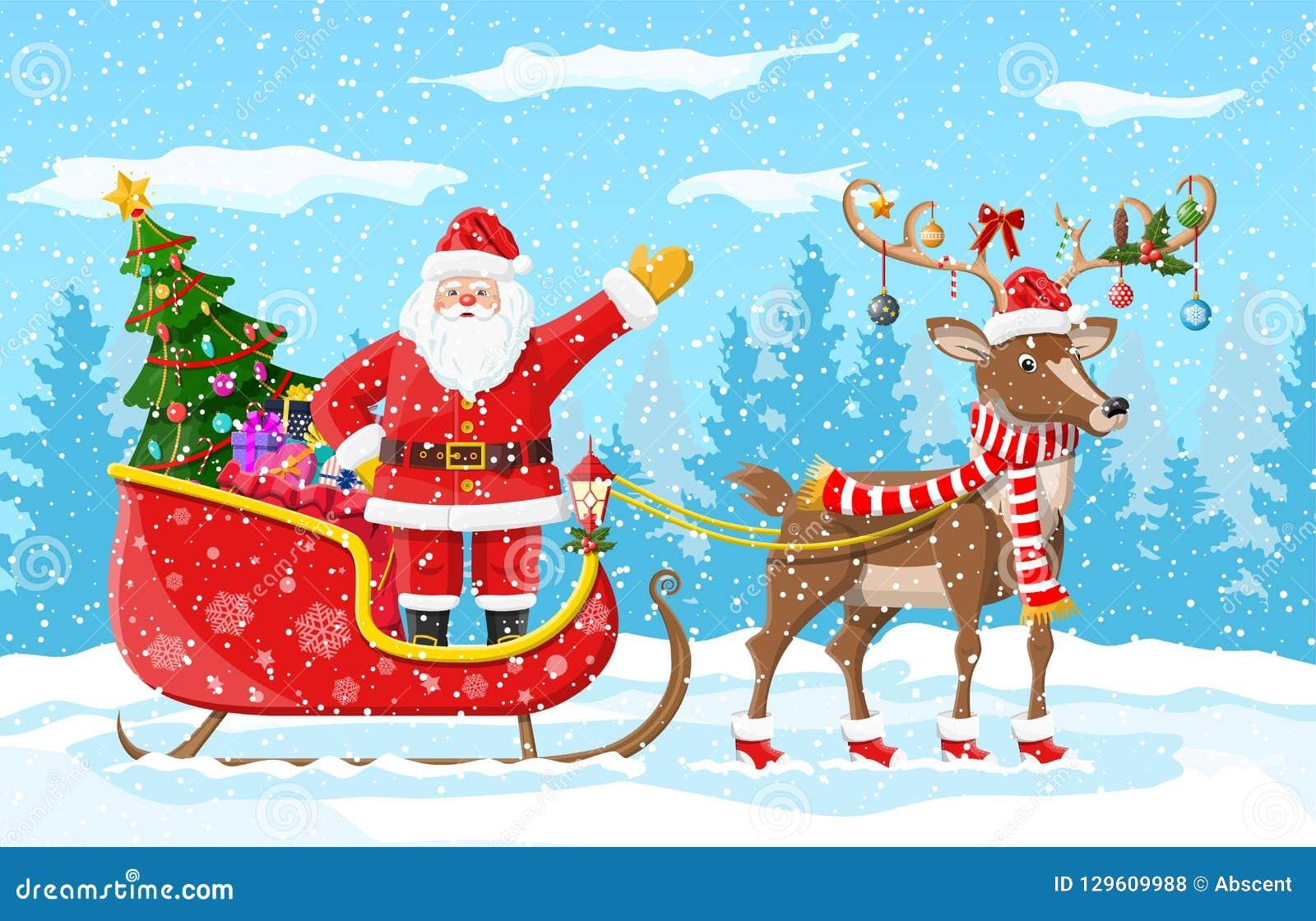 Babbo Natale Con Le Renne Immagini.Albero Di Natale Il Babbo Natale Con La Slitta Della Renna