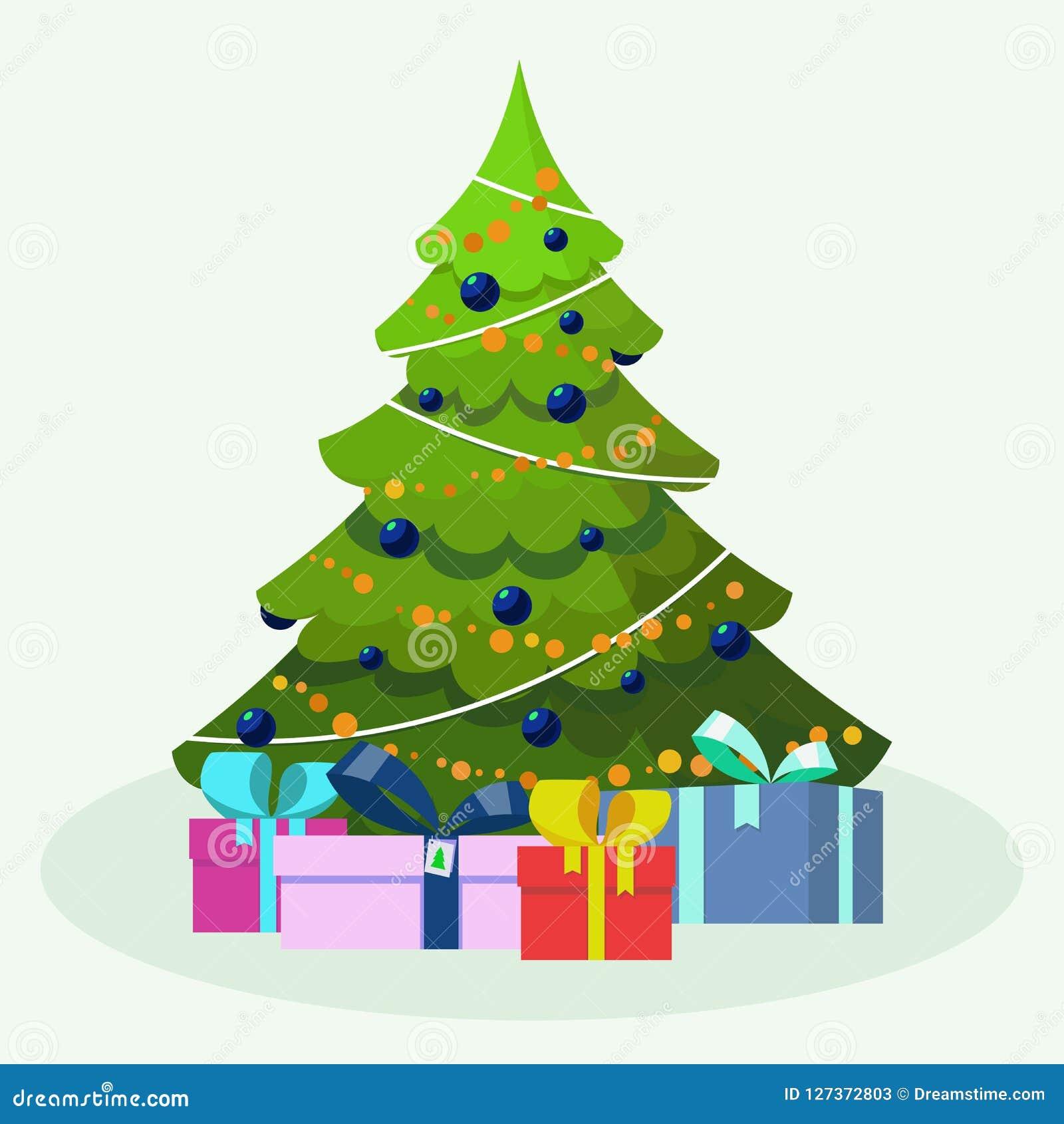 Albero di Natale Illustrazione piana di vettore di stile isolata su fondo bianco