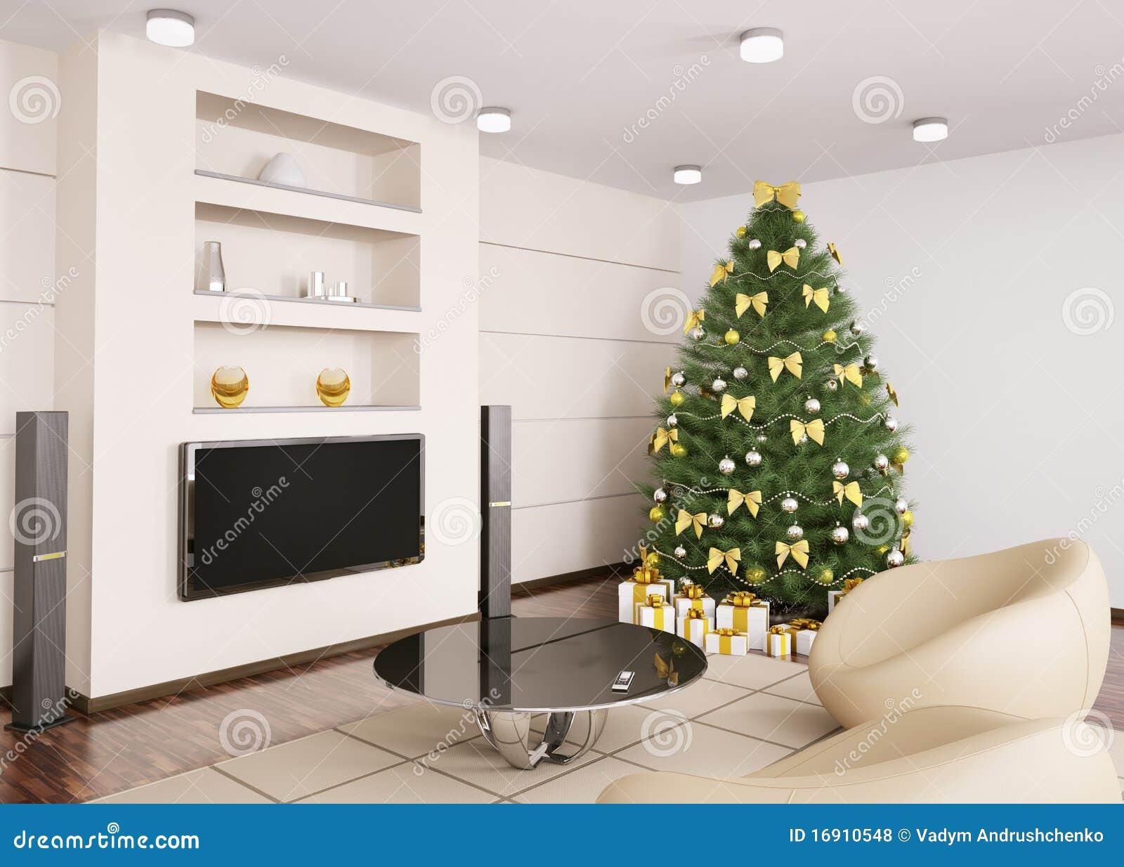 Albero Di Natale In Salone 3d Interno Illustrazione Di Stock