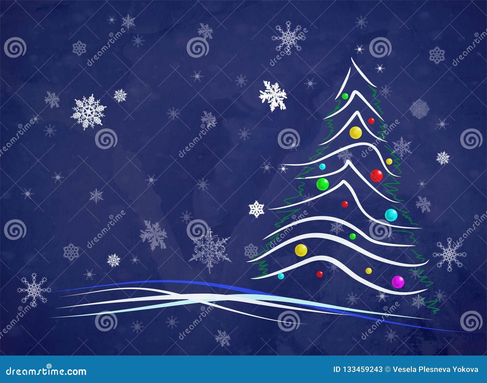 Albero Di Natale Stilizzato.Albero Di Natale Stilizzato Con I Fiocchi Di Neve Bianchi Illustrazione Vettoriale Illustrazione Di Allegro Anno 133459243