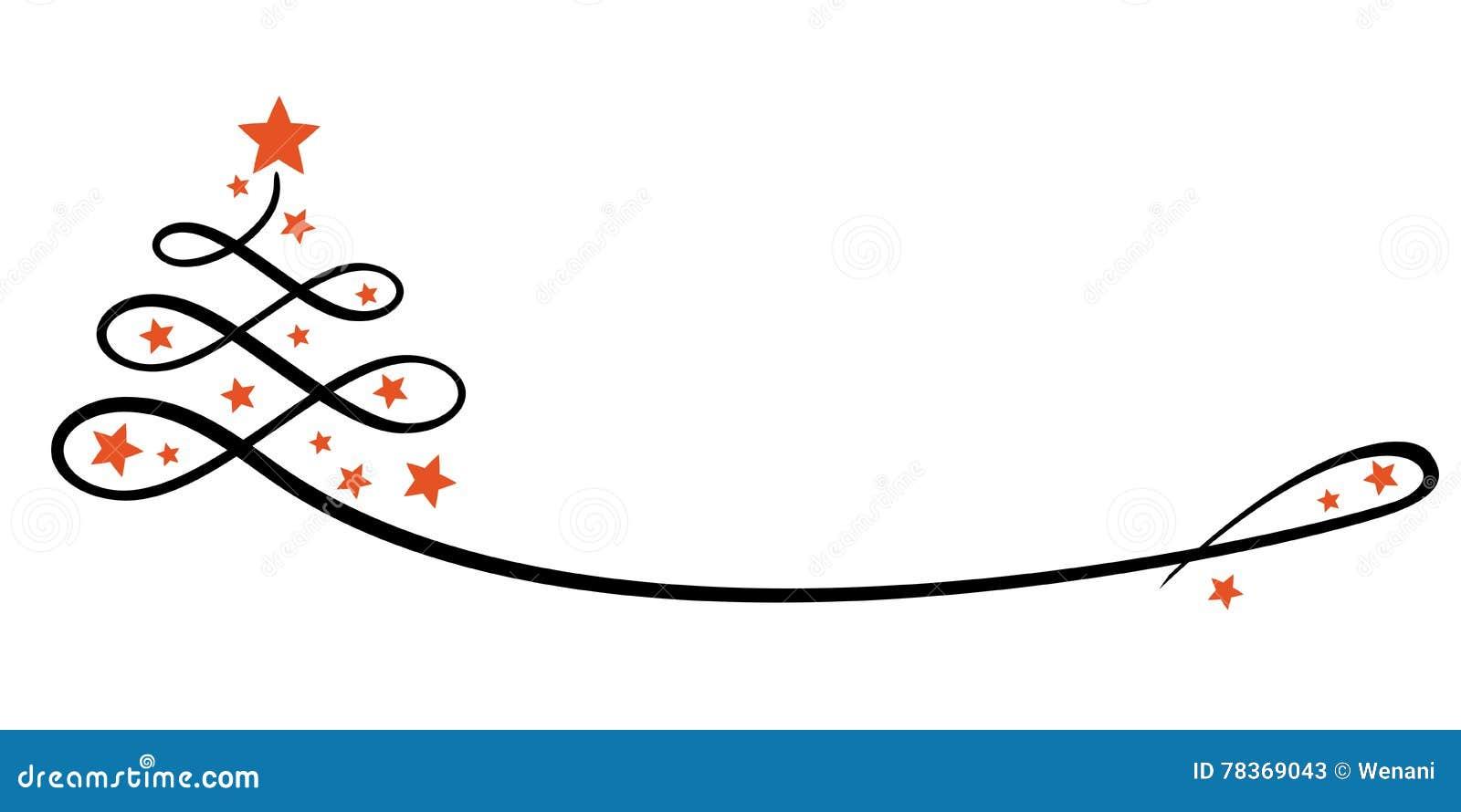 Immagini Natalizie Stilizzate.Albero Di Natale Stilizzato Con Le Stelle Linea Arte Illustrazione