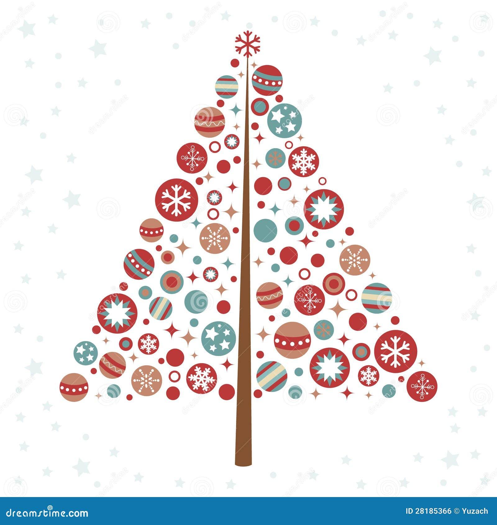 Albero Di Natale Stilizzato Di Disegno Con I Giocattoli Di Natale