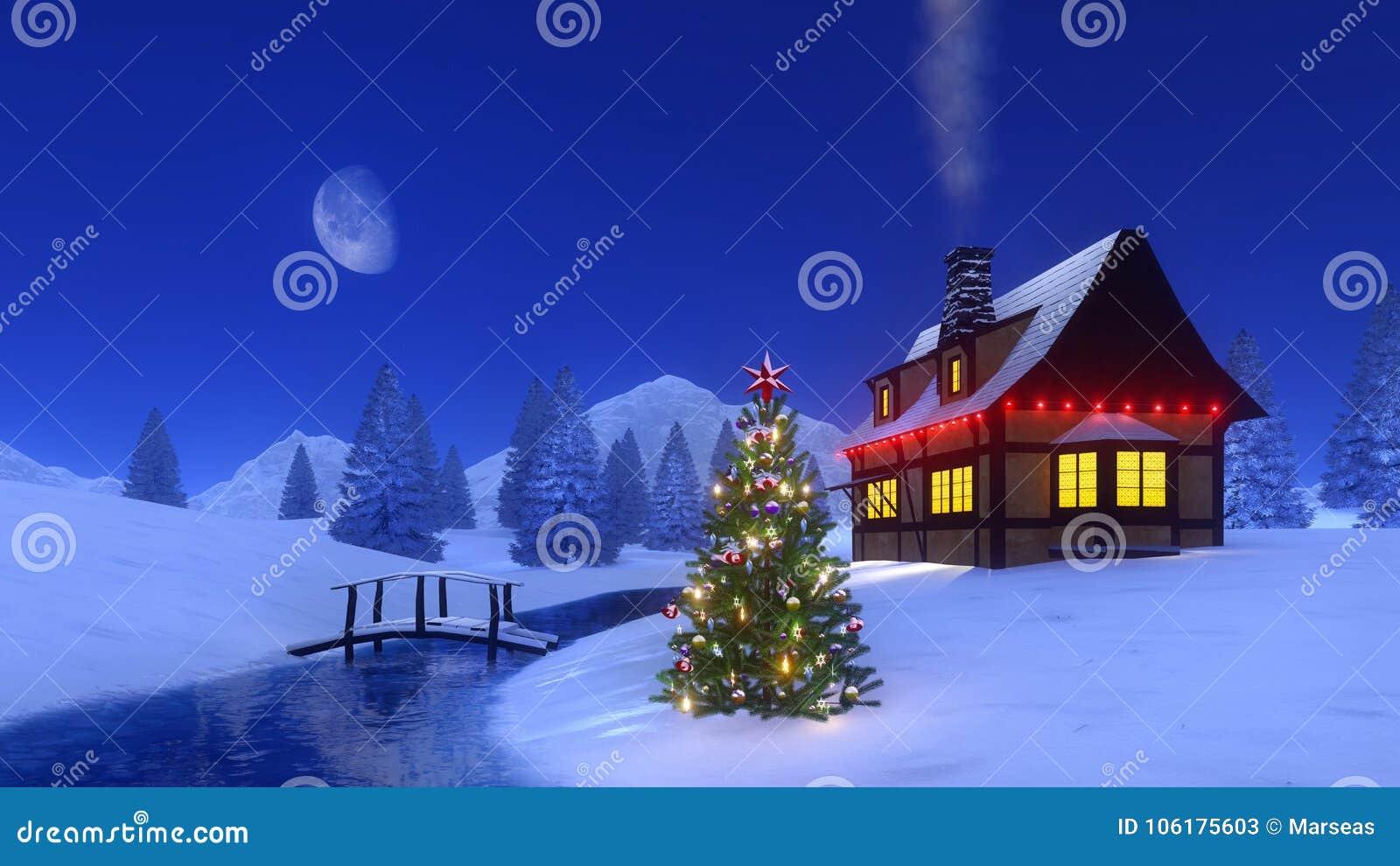 Immagini Di Natale In Montagna.Albero Di Natale Vicino Alla Cabina Della Montagna Alla