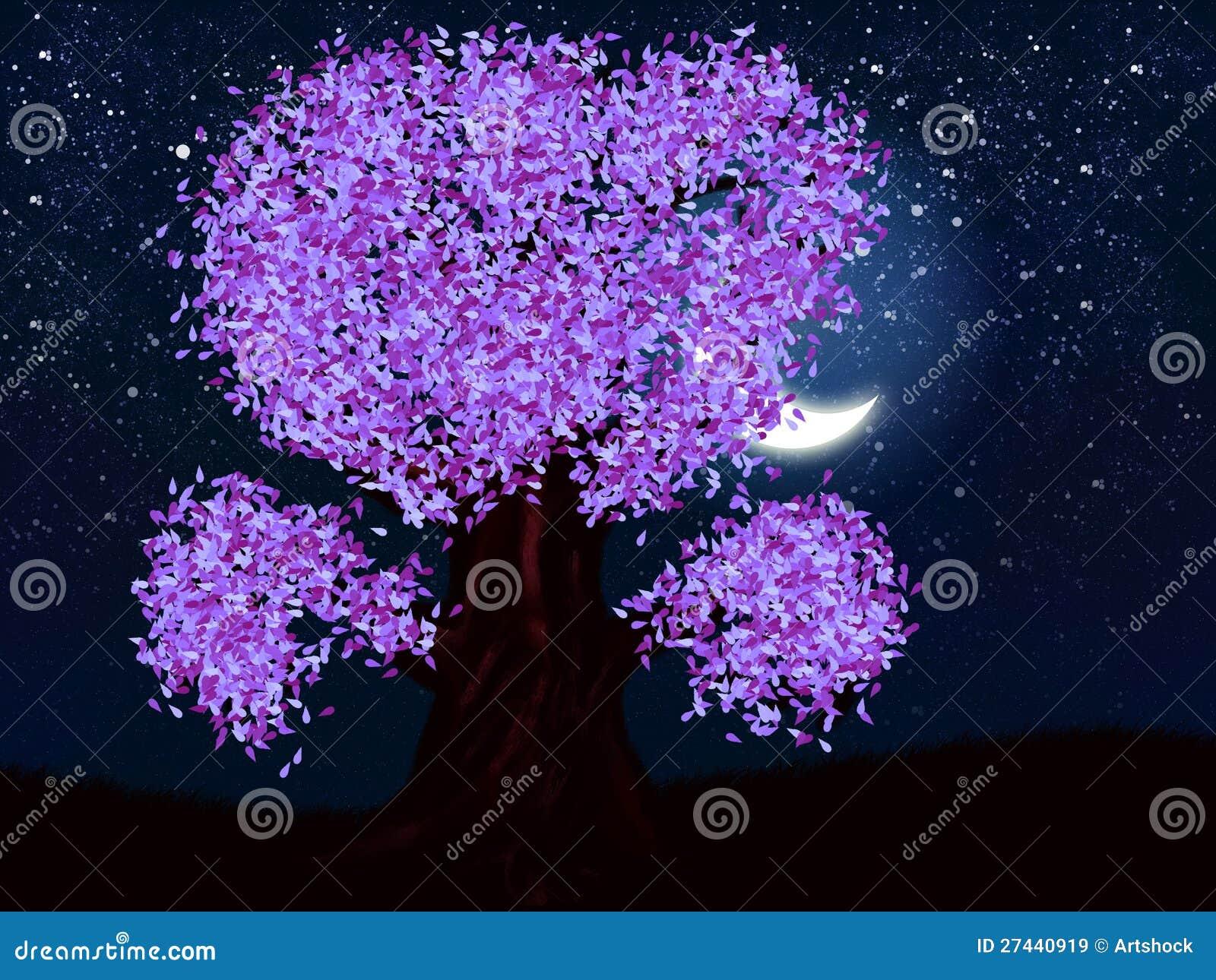 albero di notte di fantasia di colore viola illustrazione