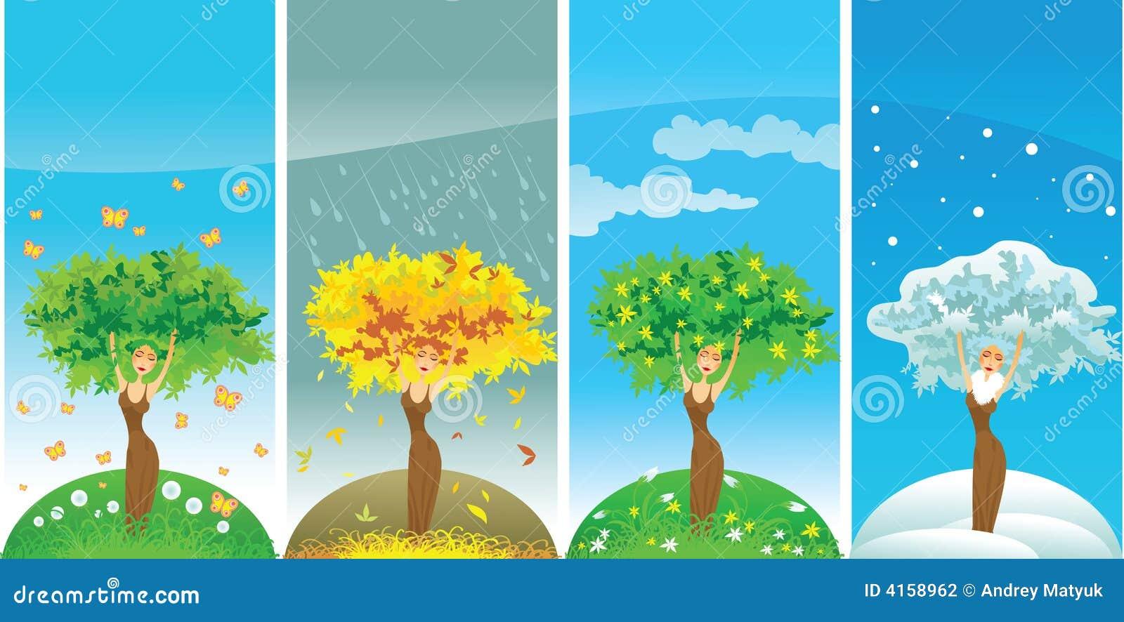 albero di quattro stagioni della donna illustrazione