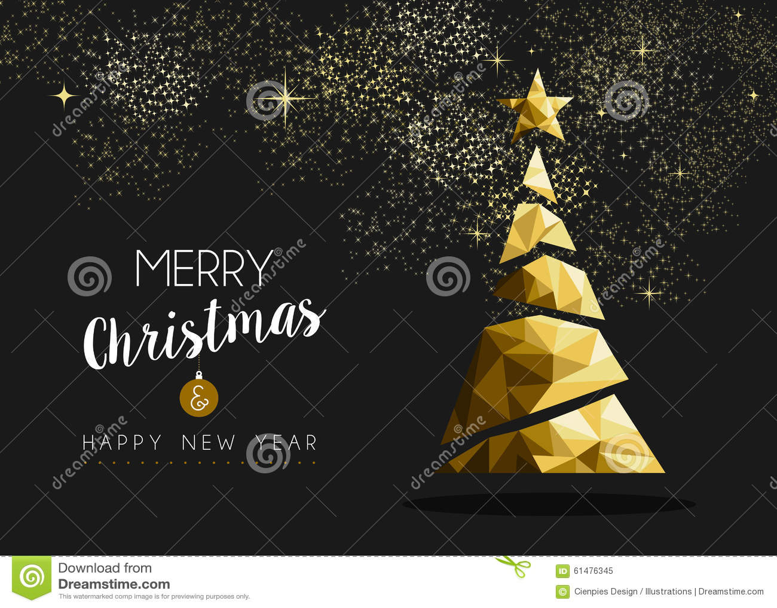 Albero dorato del triangolo del buon anno di Buon Natale