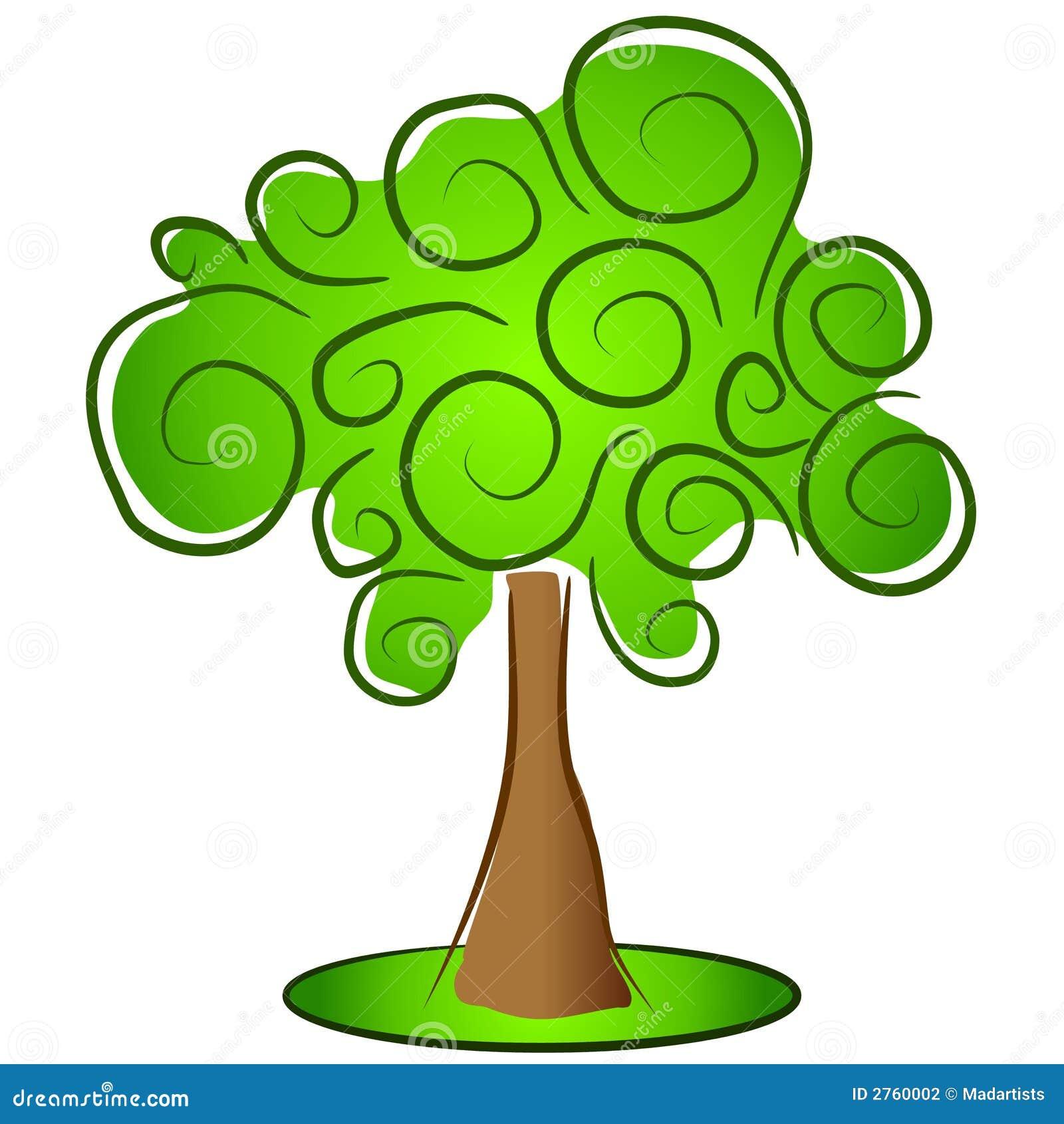 Astratta di grande albero con il turbine verde si ramifica