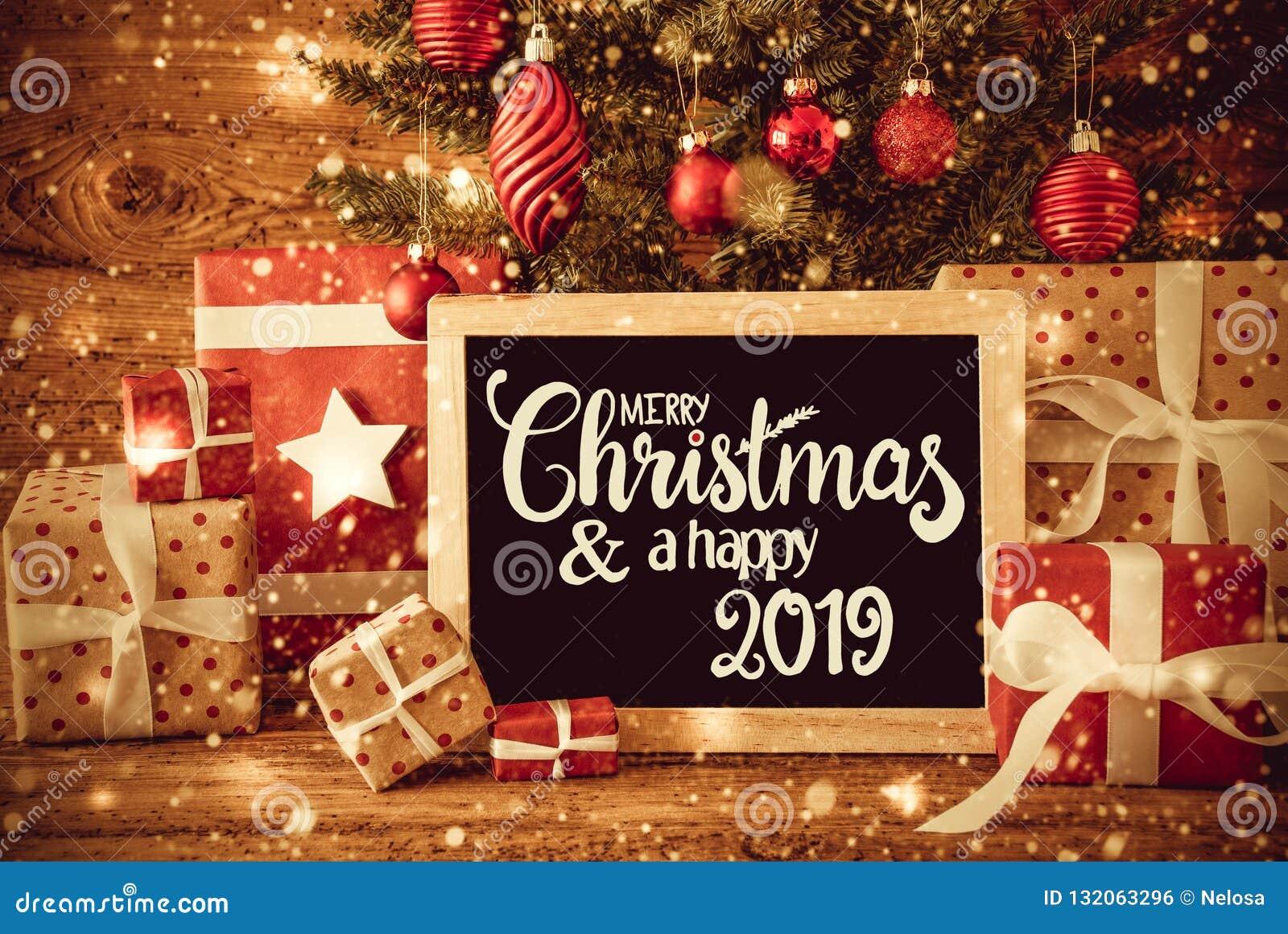 Regali Di Natale Inglese.Albero Luminoso Regali Buon Natale Di Calligrafia E Un