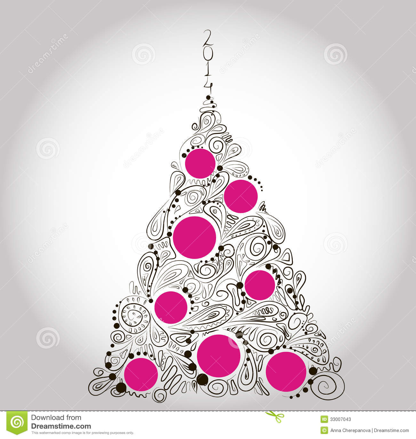 Sfondi Natalizi Eleganti.Albero Nero E Rosa Di Natale Illustrazione Vettoriale