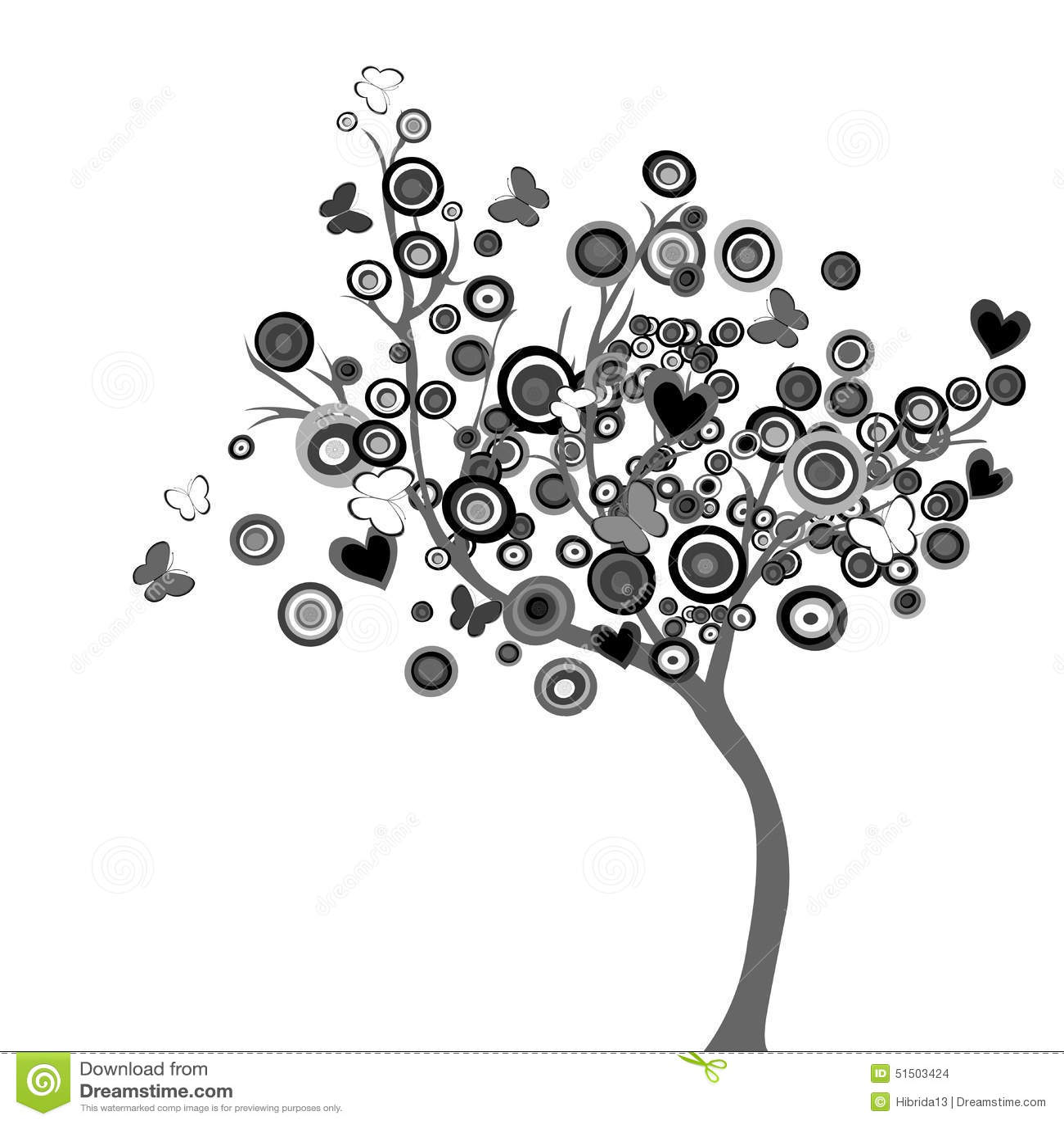 Albero nero stilizzato con i cerchi e le farfalle illustrazione vettoriale illustrazione 51503424 - Dessin arbre chinois ...