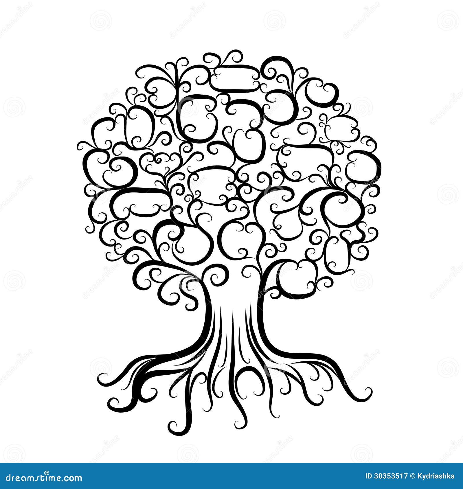 Albero ornamentale con le radici per il vostro disegno for Albero della vita da stampare e colorare