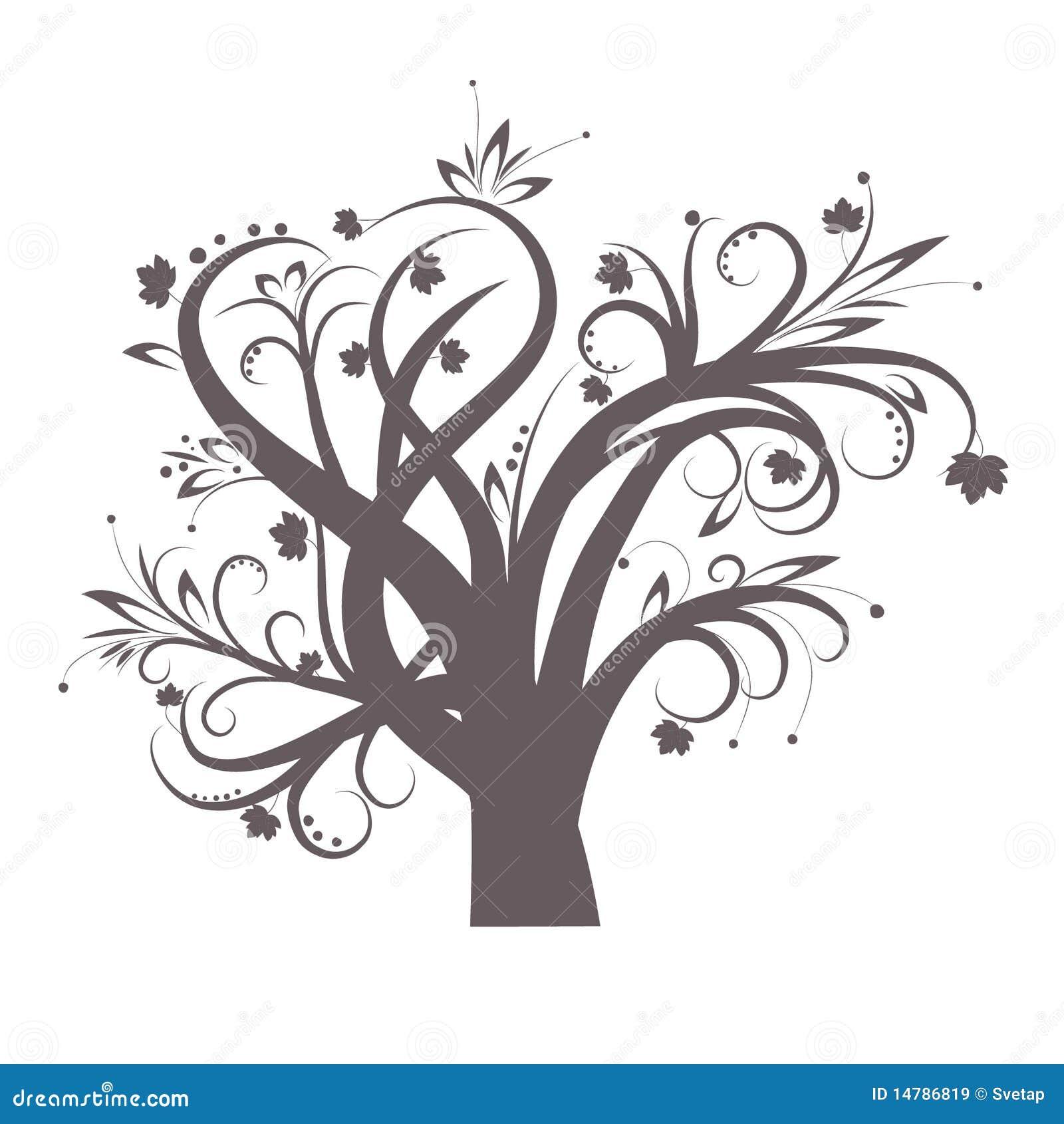 Albero Stilizzato Illustrazione Vettoriale Illustrazione Di Bianco