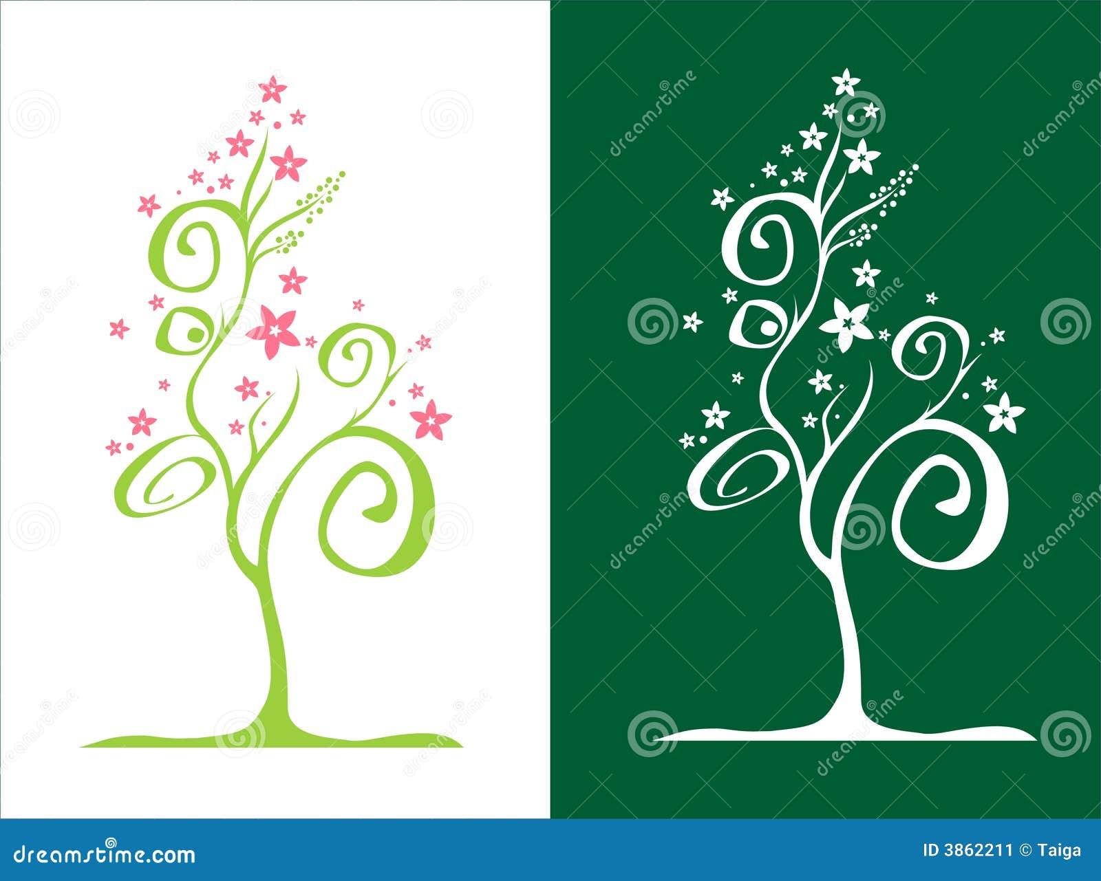 Albero stilizzato con i fiori vettore immagine stock for Albero con fiori blu