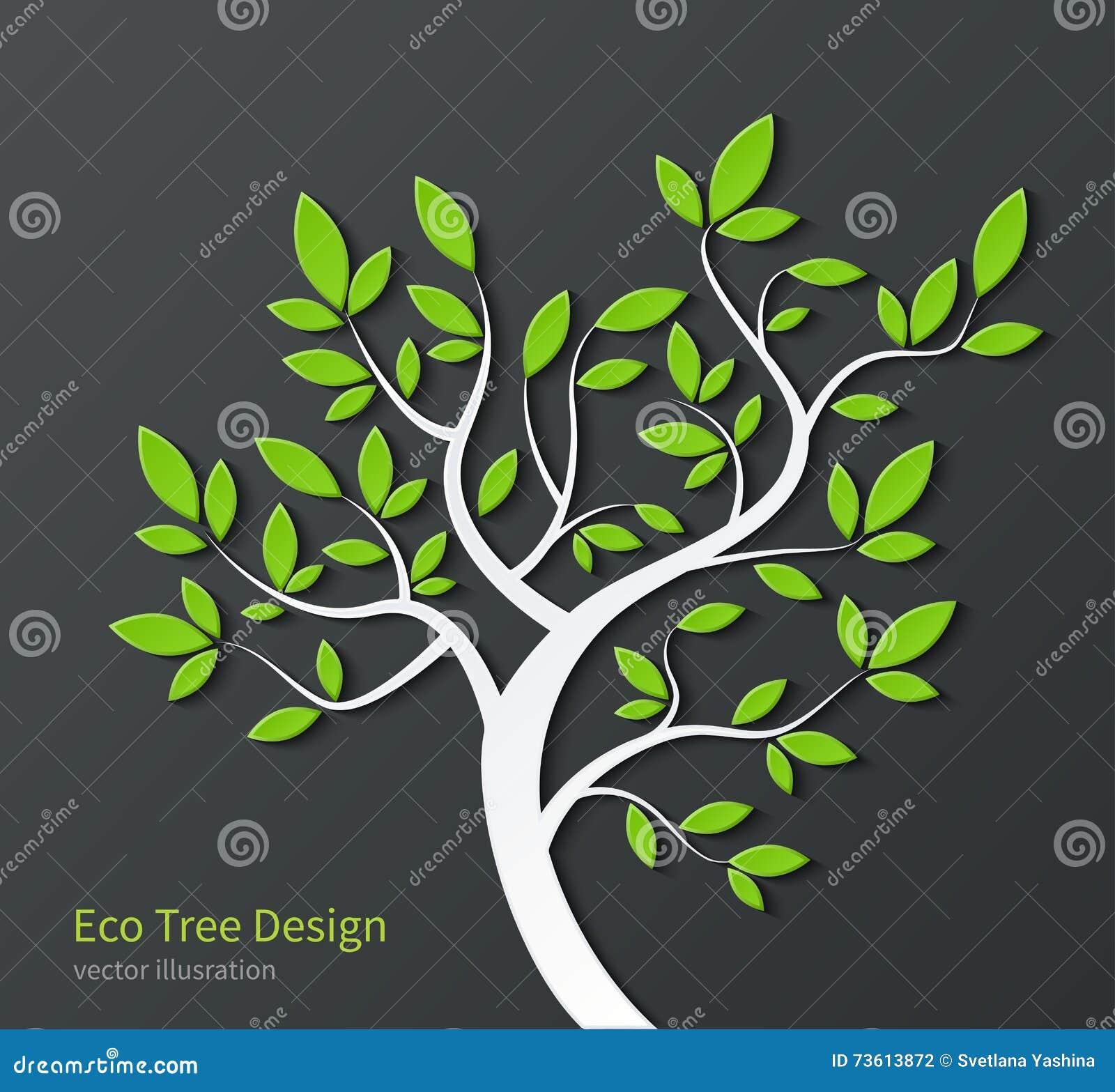 Albero stilizzato con i rami e le foglie verdi for Pianta ornamentale con foglie rosse e verdi
