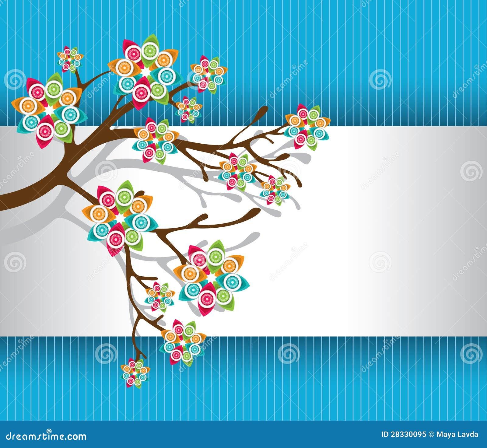 Albero stilizzato con l 39 indicatore luminoso variopinto dei for Albero con fiori blu