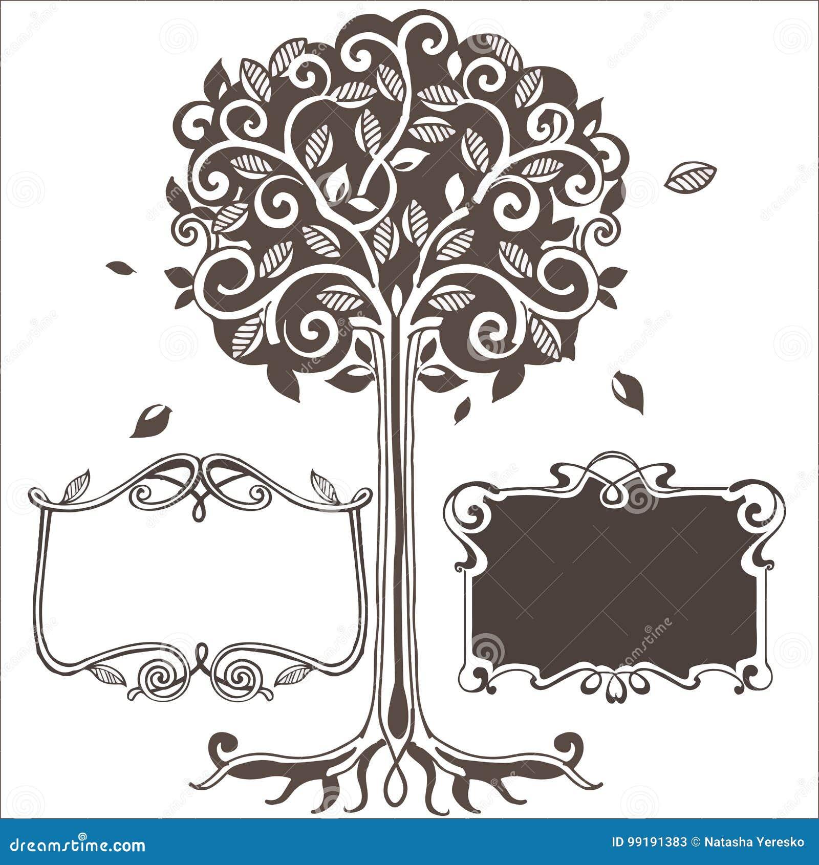 Albero stilizzato con le strutture Illustrazione di vettore