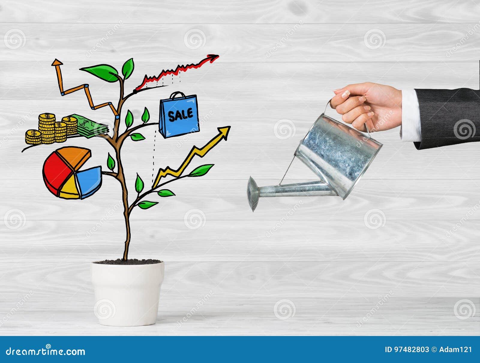 Albero tirato di reddito in vaso bianco per il risparmio di investimento aziendale ed i soldi di fabbricazione
