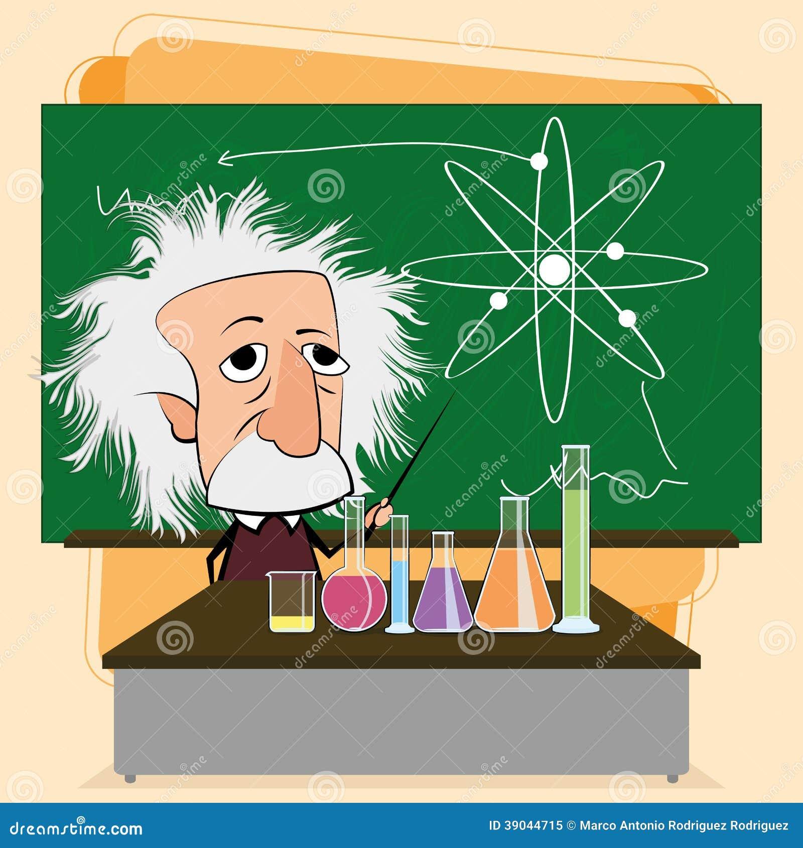 Albert Einstein Cartoon In een Klaslokaalscène