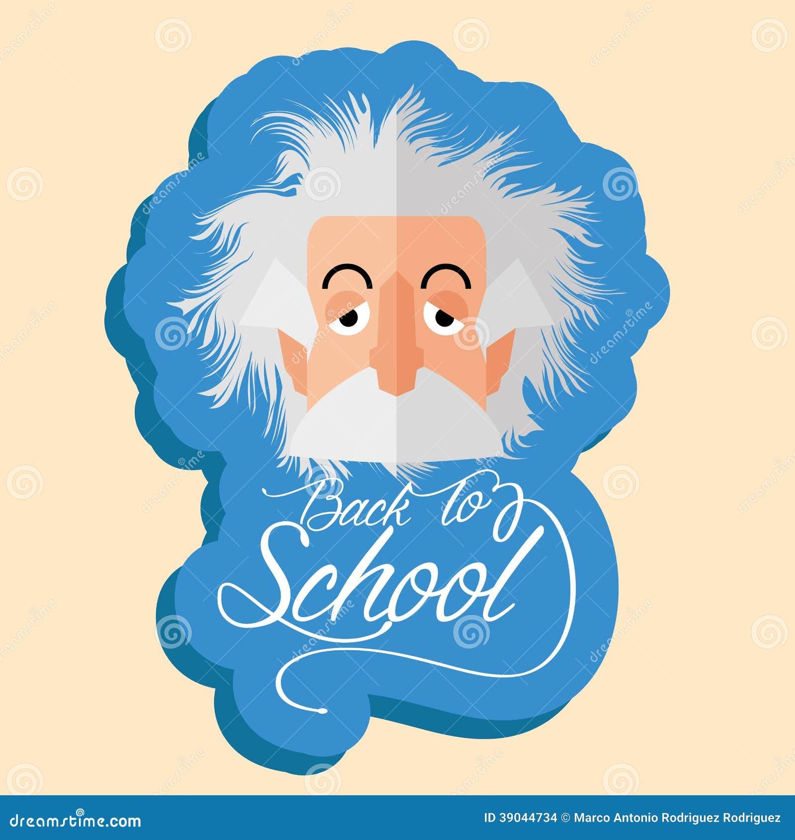 Albert Einstein Cartoon Portrait Isolated drôle