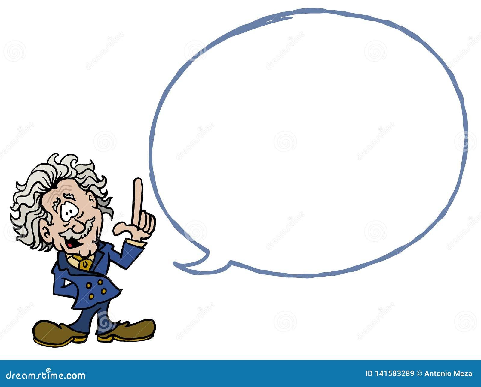Albert Einstein med en tom dialogbubbla