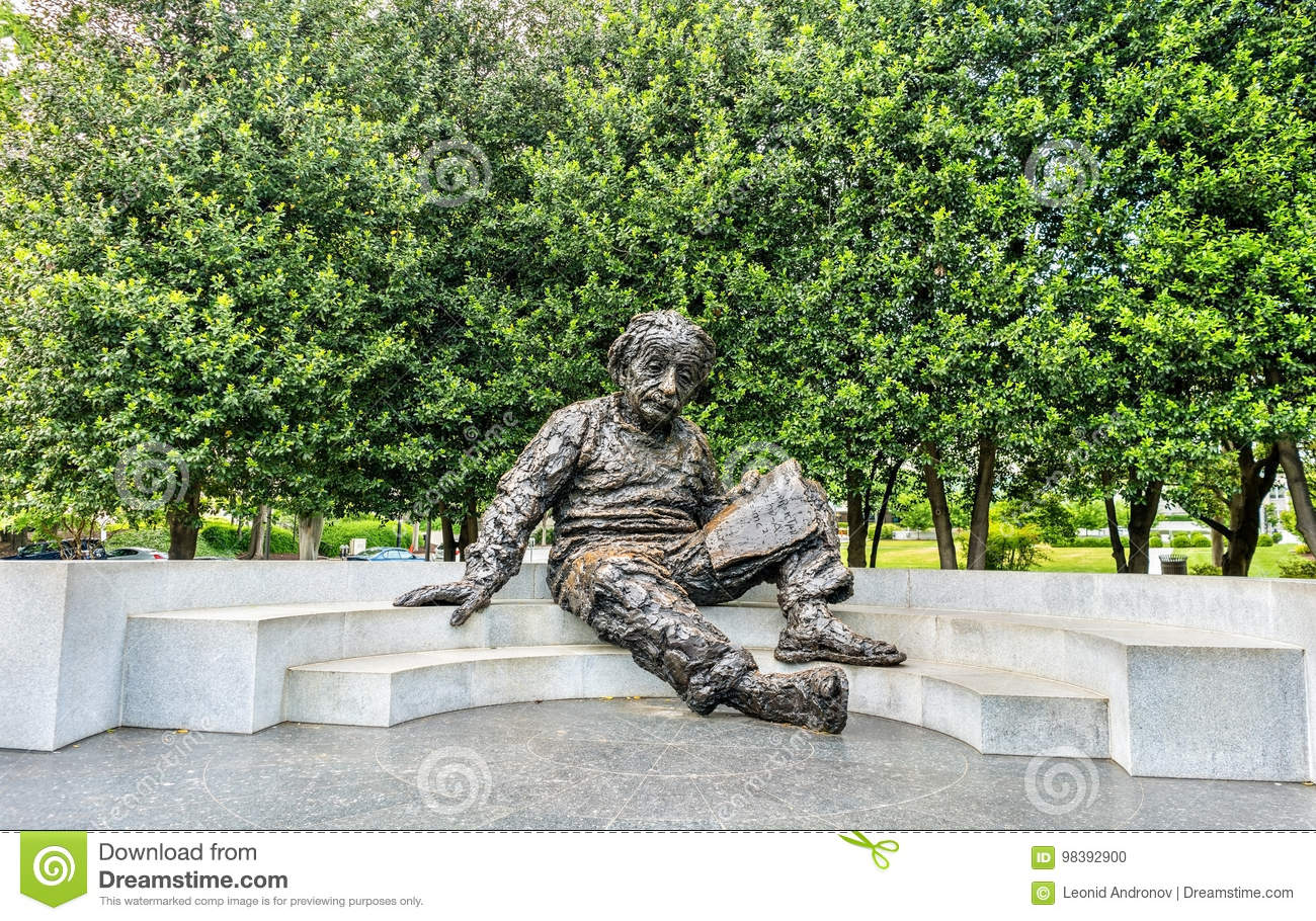 The Albert Einstein Memorial, a bronze statue at the National Academy of Sciences in Washington, D.C.