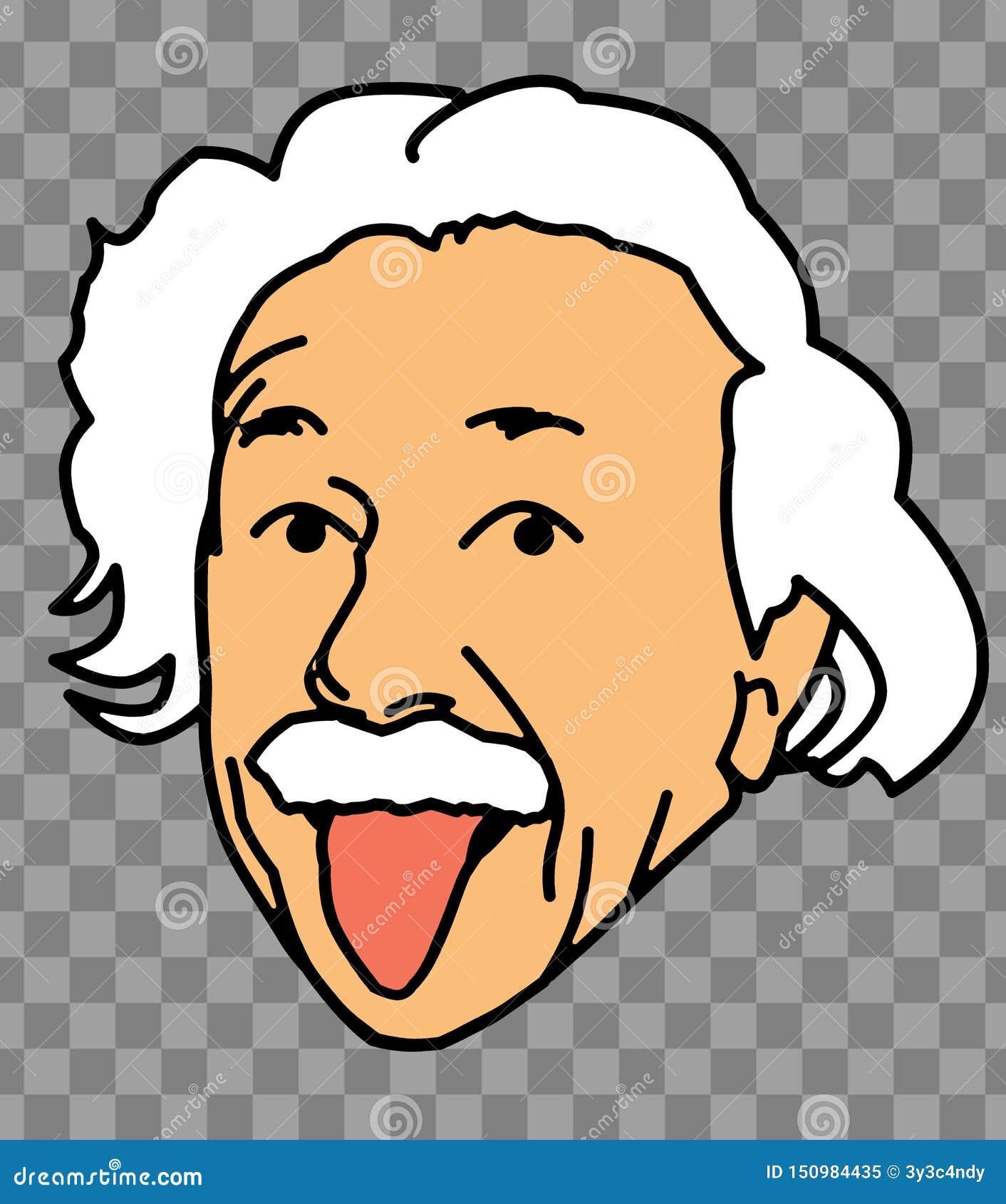 Albert Einstein Tongue Face Illustration