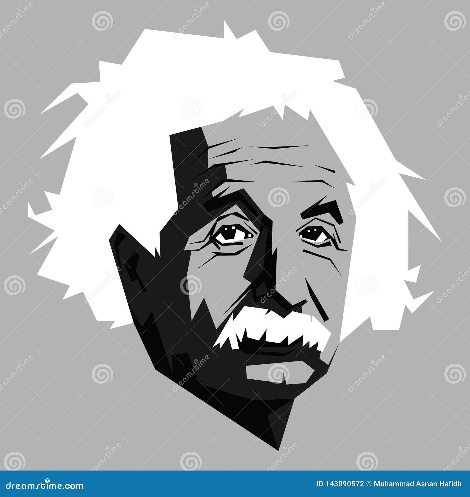 Albert Einstein w czarny i biały