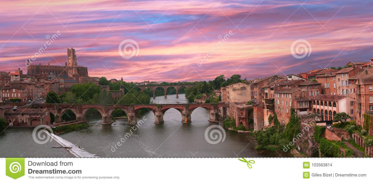 Albi, panorama of the cathedral and the old bridge