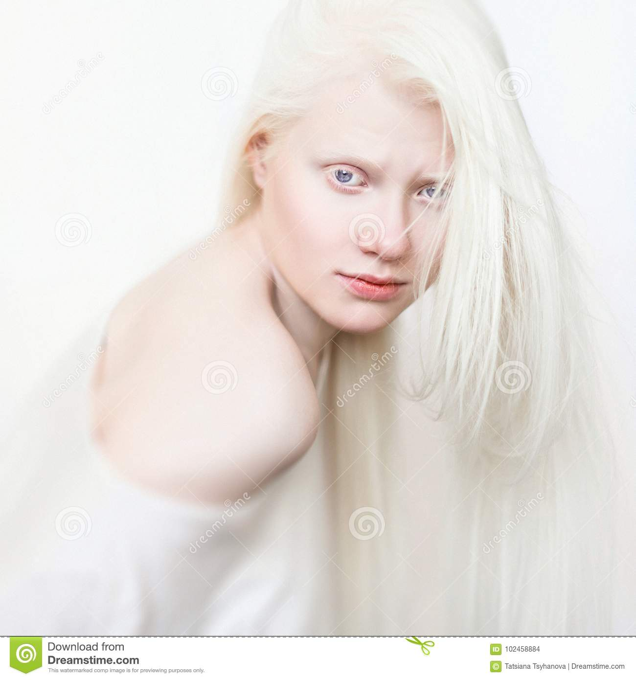 561e4e46629 Albino female with white skin, natural lips and white hair. Photo face.  Portrait of the head. Blonde girl. Blue eyes.