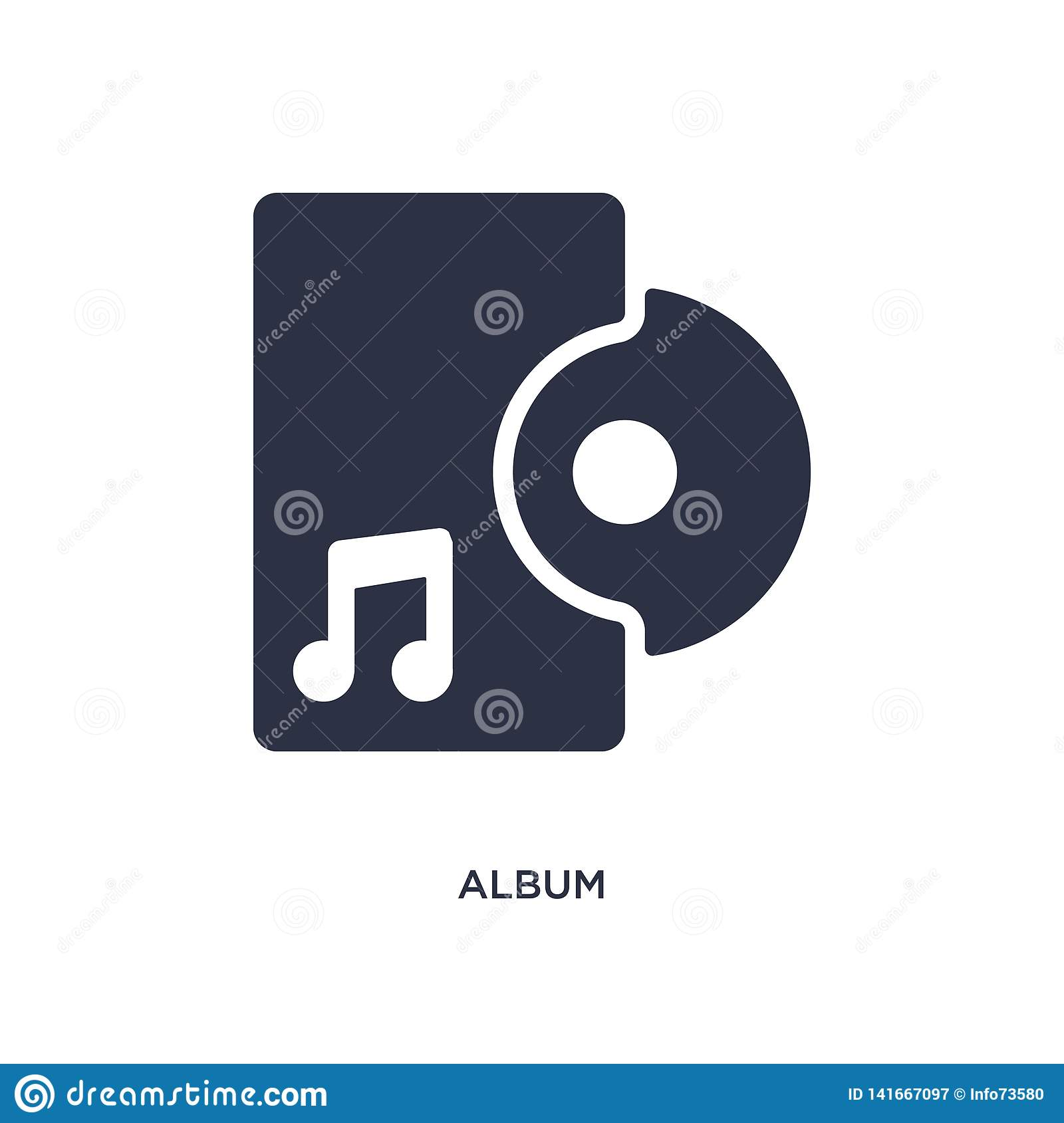 album icon on white background. Simple element illustration from music concept