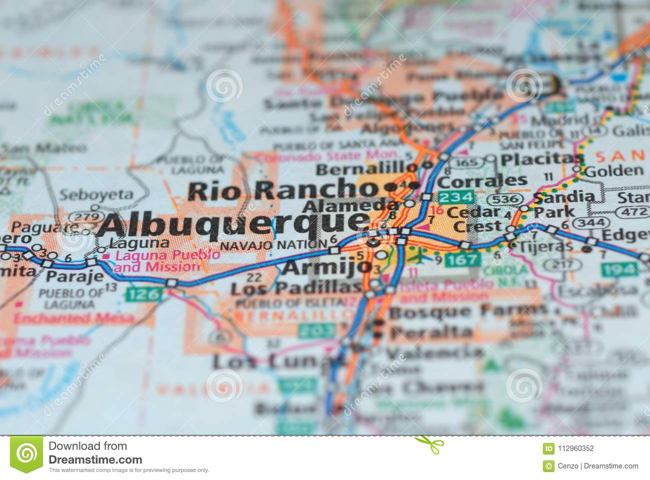 Roads On The Map Around Albuquerque City, USA. Stock Photo - Image ...