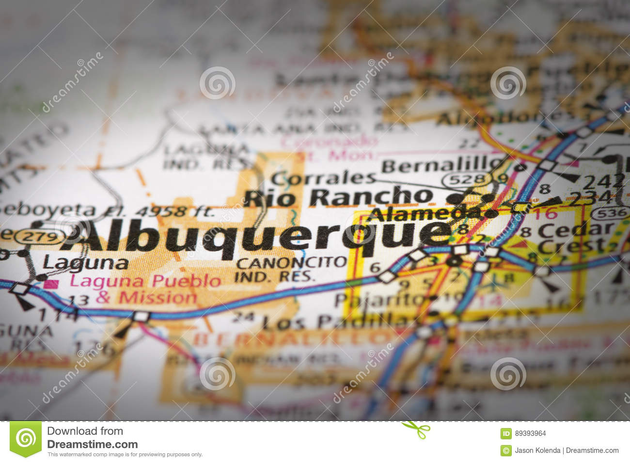 Albuquerque on map stock photo. Image of geography, closeup - 89393964