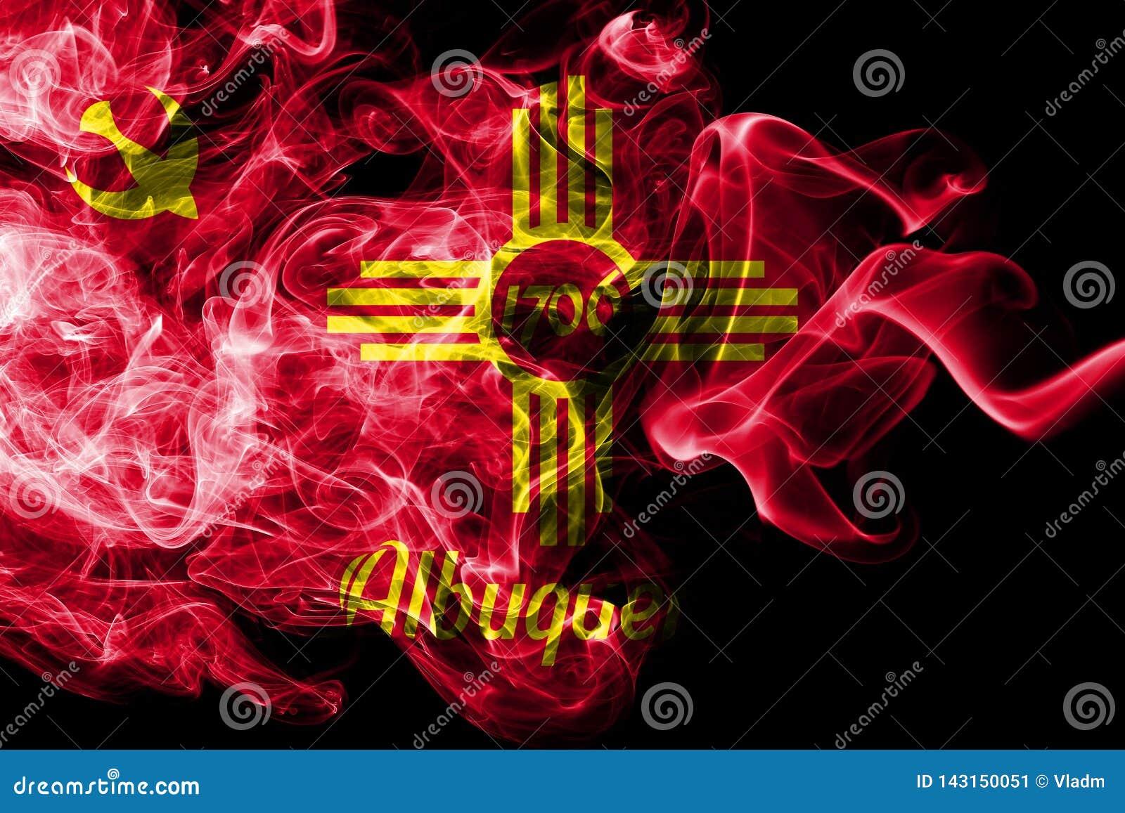 Albuquerque miasta dymu flaga, Nowa - Mexico stan, Stany Zjednoczone Ameryka