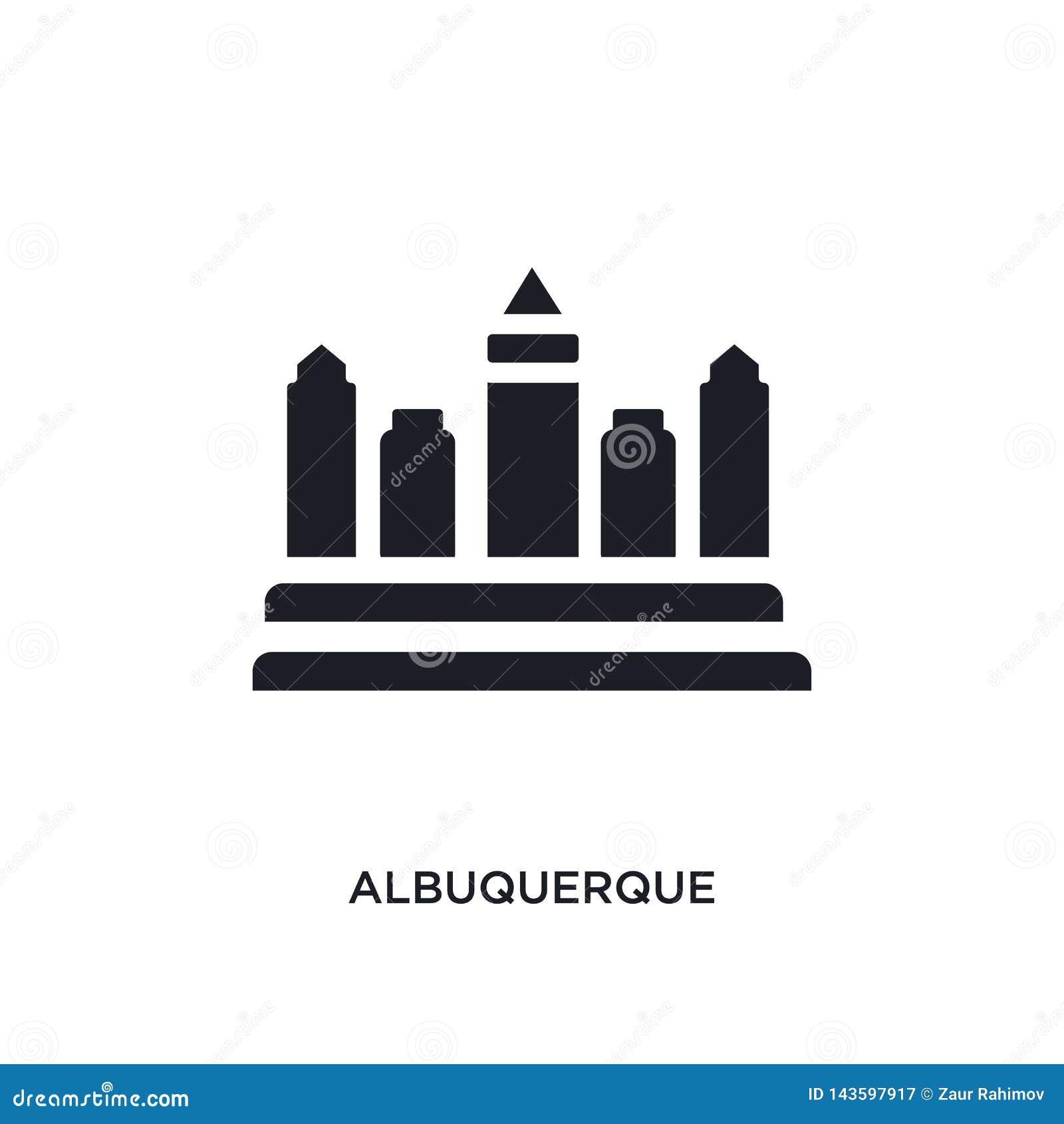 Albuquerque negra aisló el icono del vector ejemplo simple del elemento de iconos del vector del concepto de los Estados Unidos d