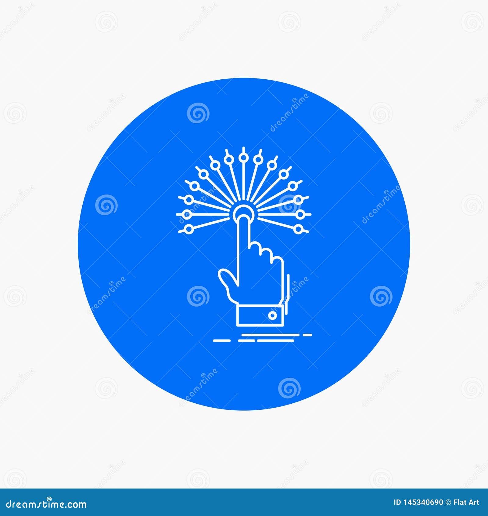 Alcance, tacto, destino, línea blanca digital, analítica icono en fondo del círculo Ejemplo del icono del vector