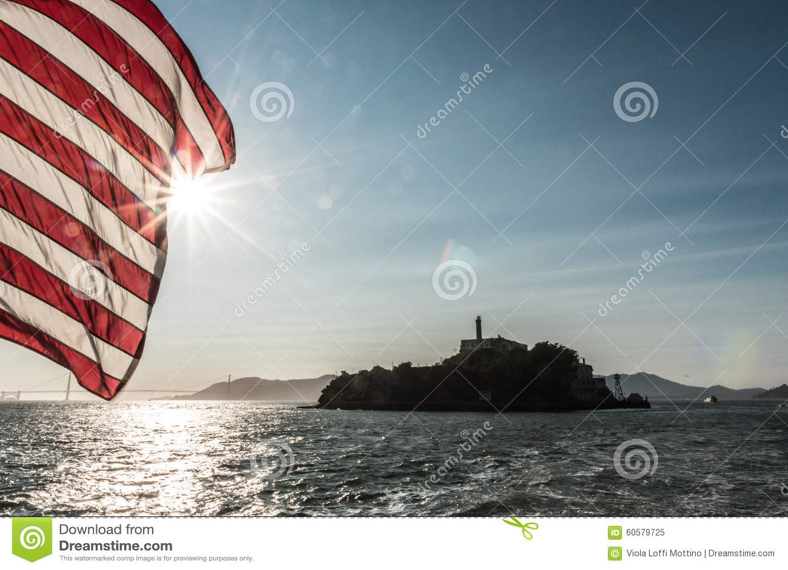 Alcatraz view vith flag of america