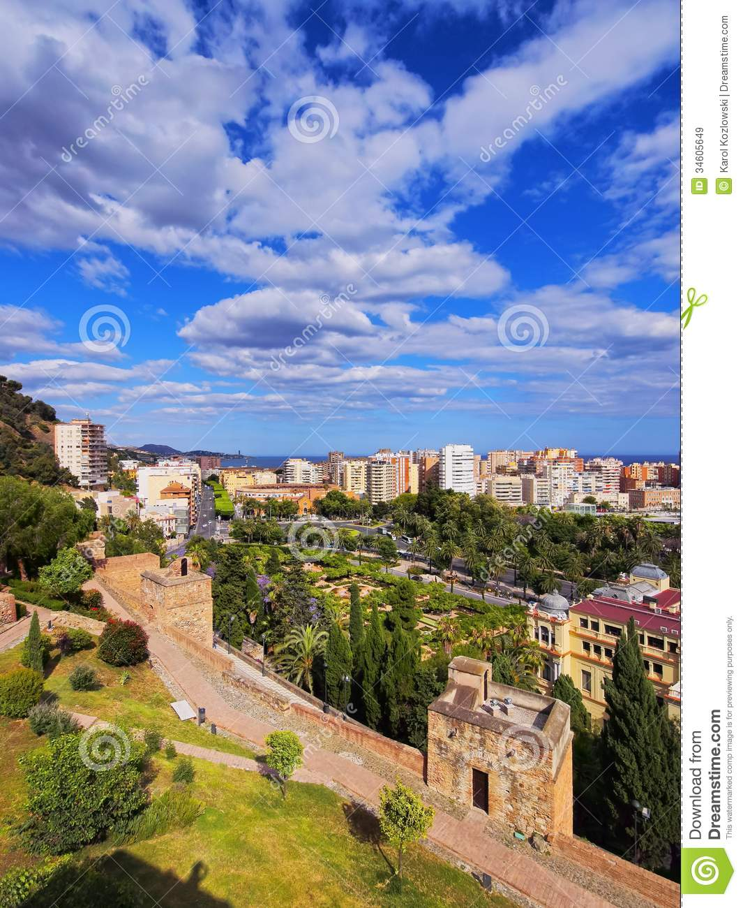 alcazaba in malaga spain royalty free stock images image 34605649. Black Bedroom Furniture Sets. Home Design Ideas