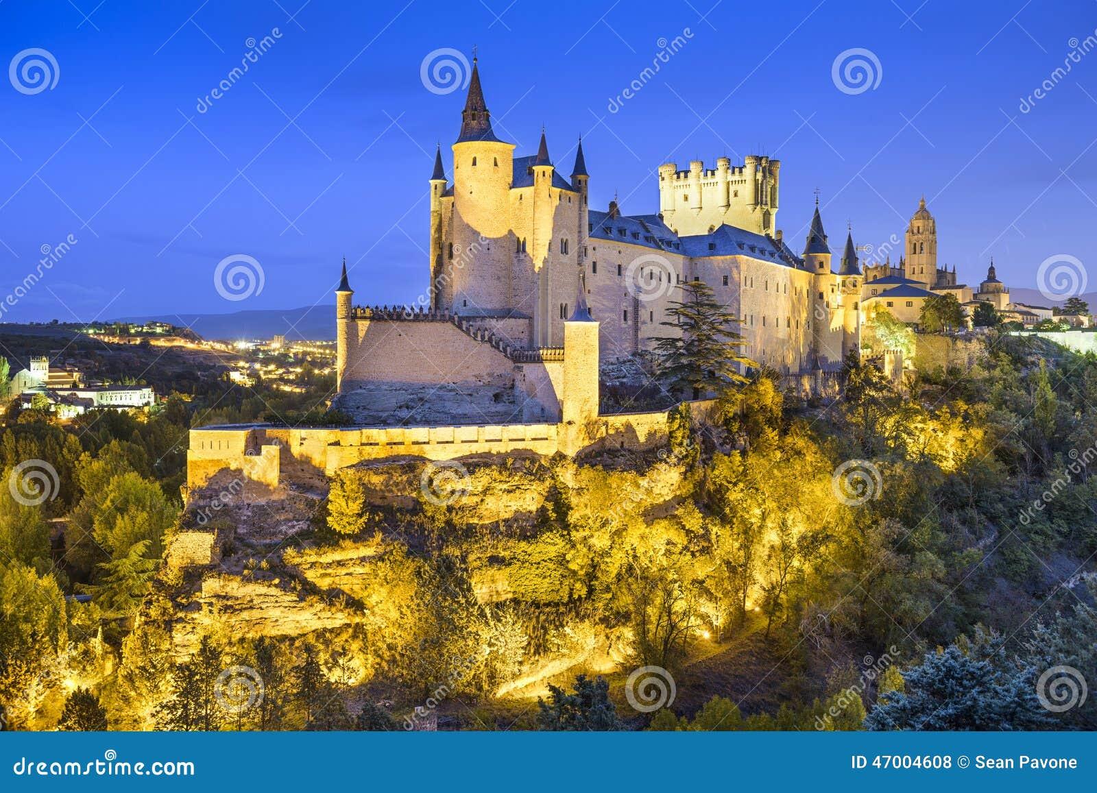 Alcazar di Segovia, Spagna alla notte