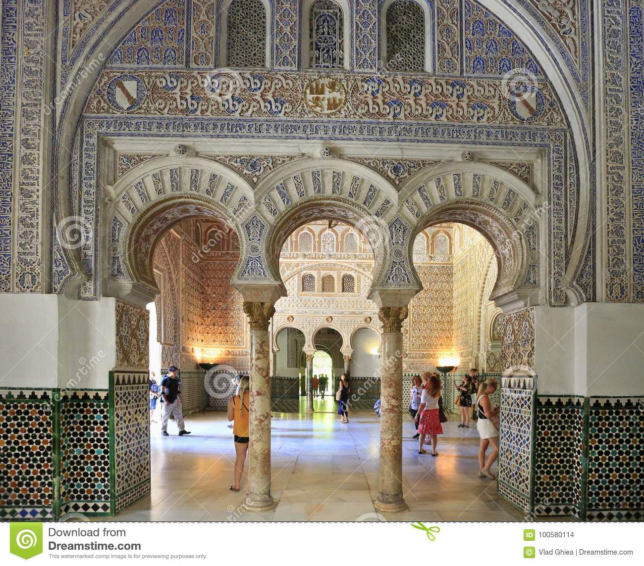 The Alcazar Of Seville Is A Royal Palace Interior, Spain