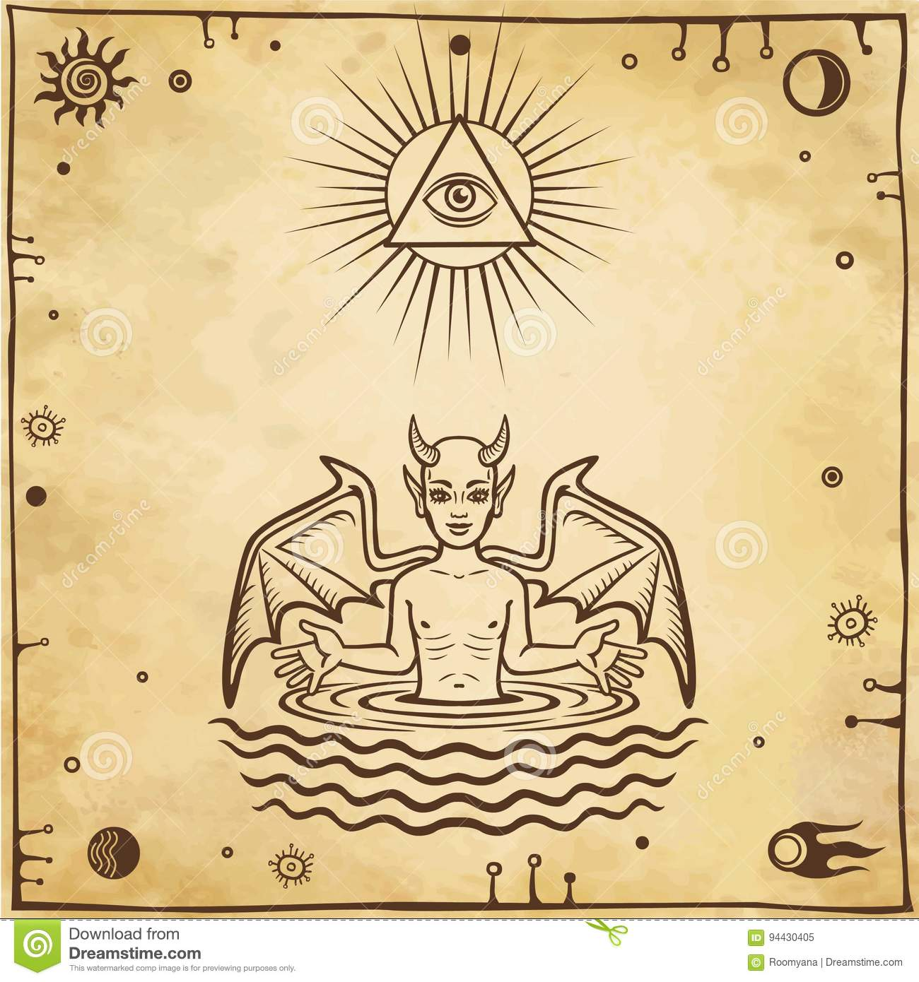 Alchemical drawing: the little demon is born from water. Esoteric, mystic, occultism.