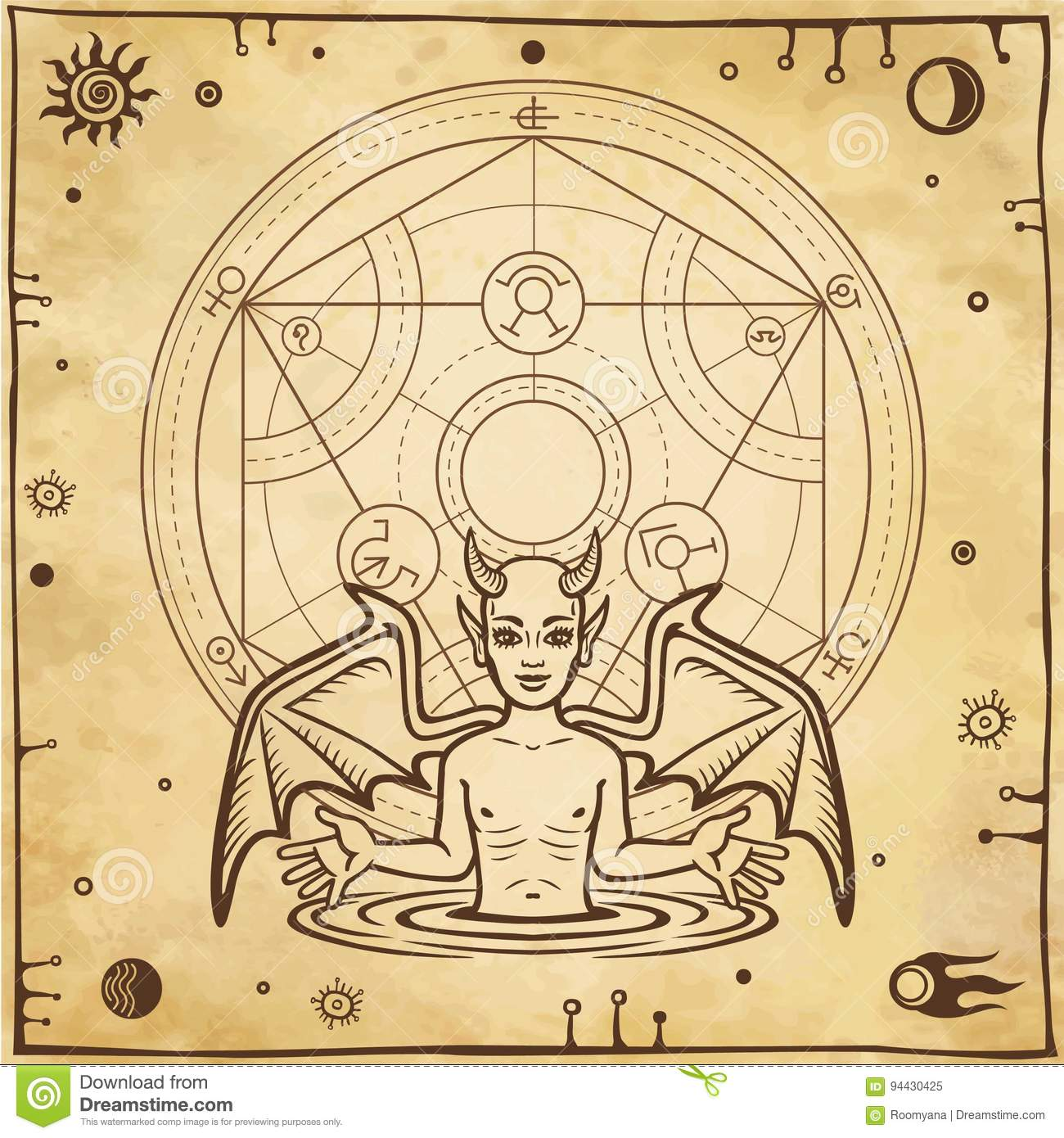 Alchemical drawing: little demon, circle of a homunculus. Esoteric, mystic, occultism.
