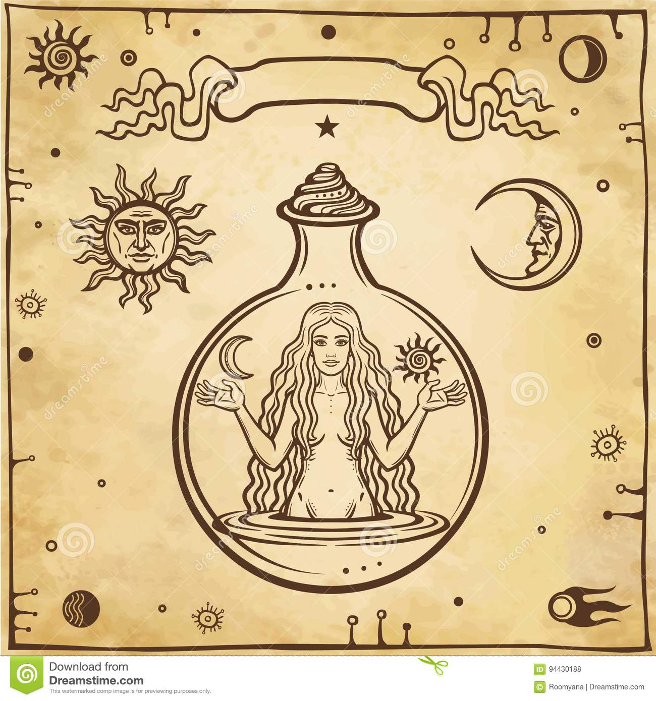 Alchemical drawing: the young beautiful woman in a test tube.