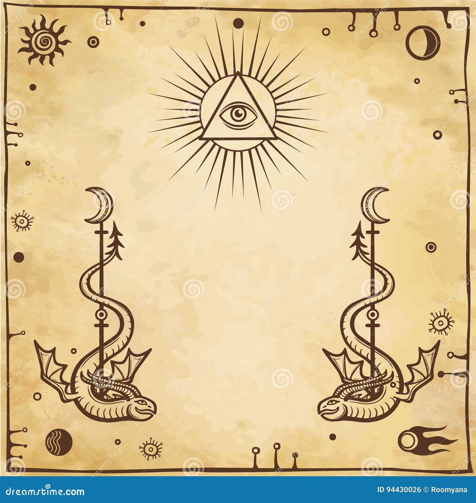 Alchemical Zeichnung: geflügelte Schlangen, Auge gesamt-sehend